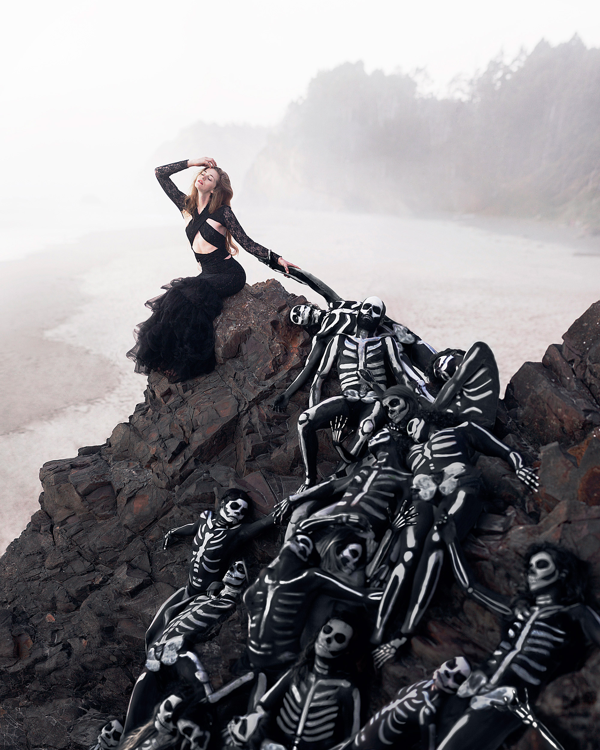 Rob Woodcox - Skeleton Queen, pile of skeletons overlooking shoreline