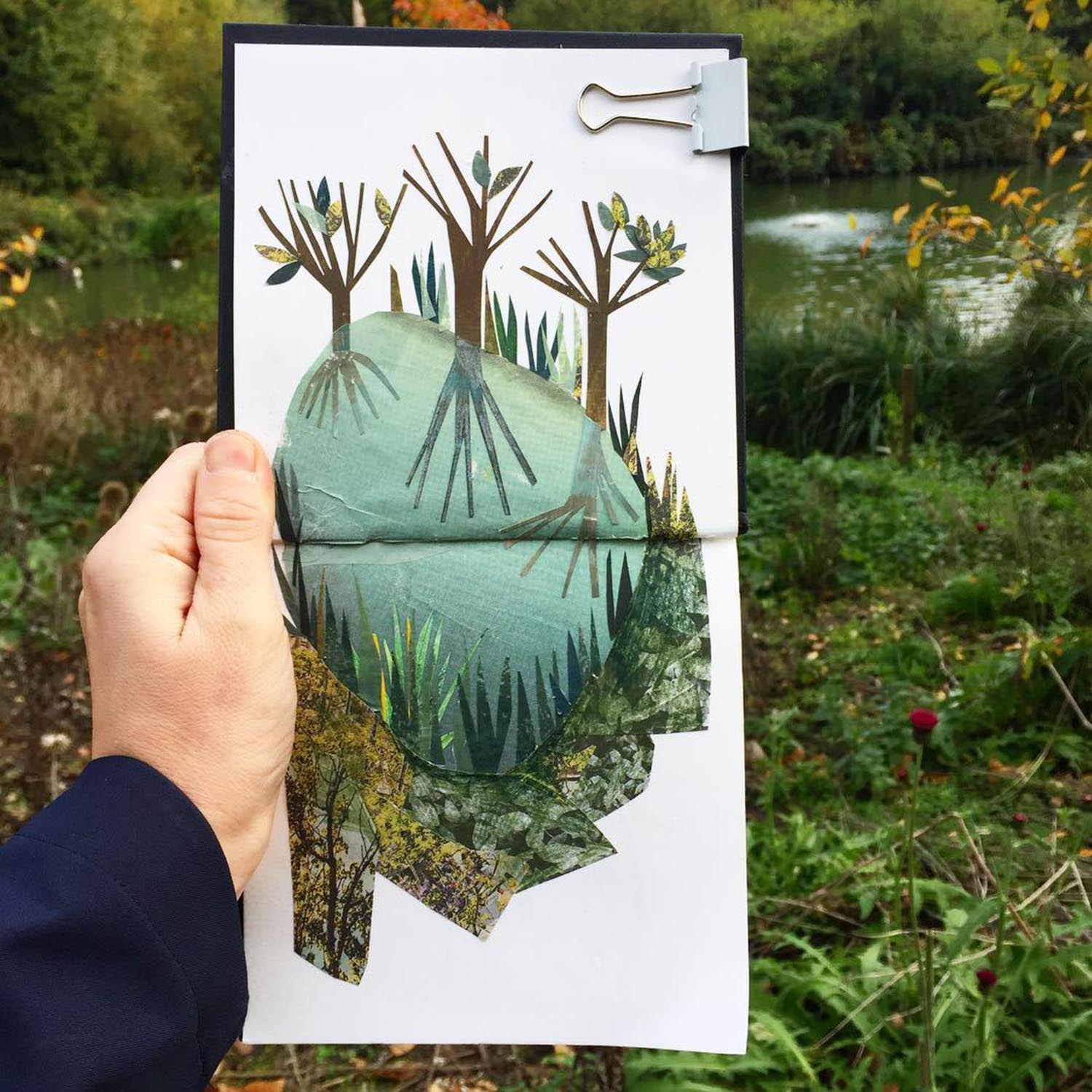 collage sketchbook of trees and a pond by clover robin