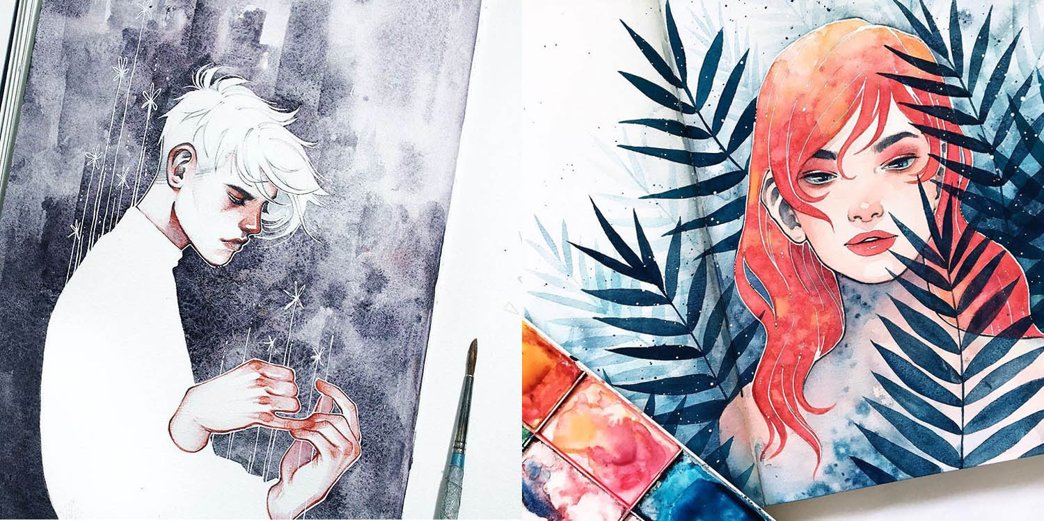 watercolor portraits by kelopsloops