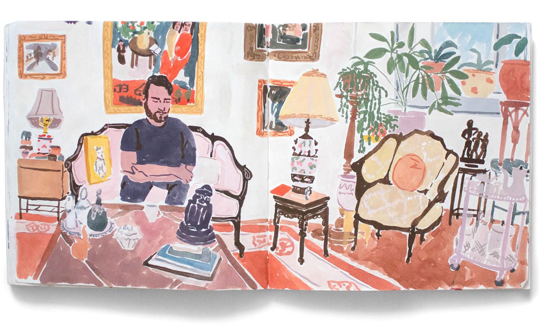 painting in sketchbook, by Leah Reena Goren
