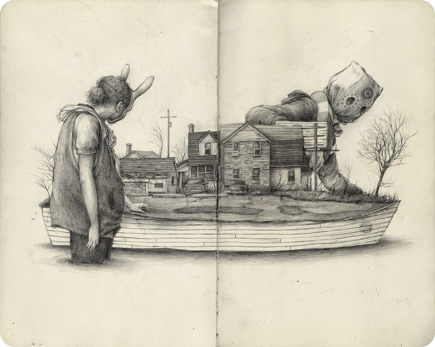 kids on a boat, drawing by pat perry