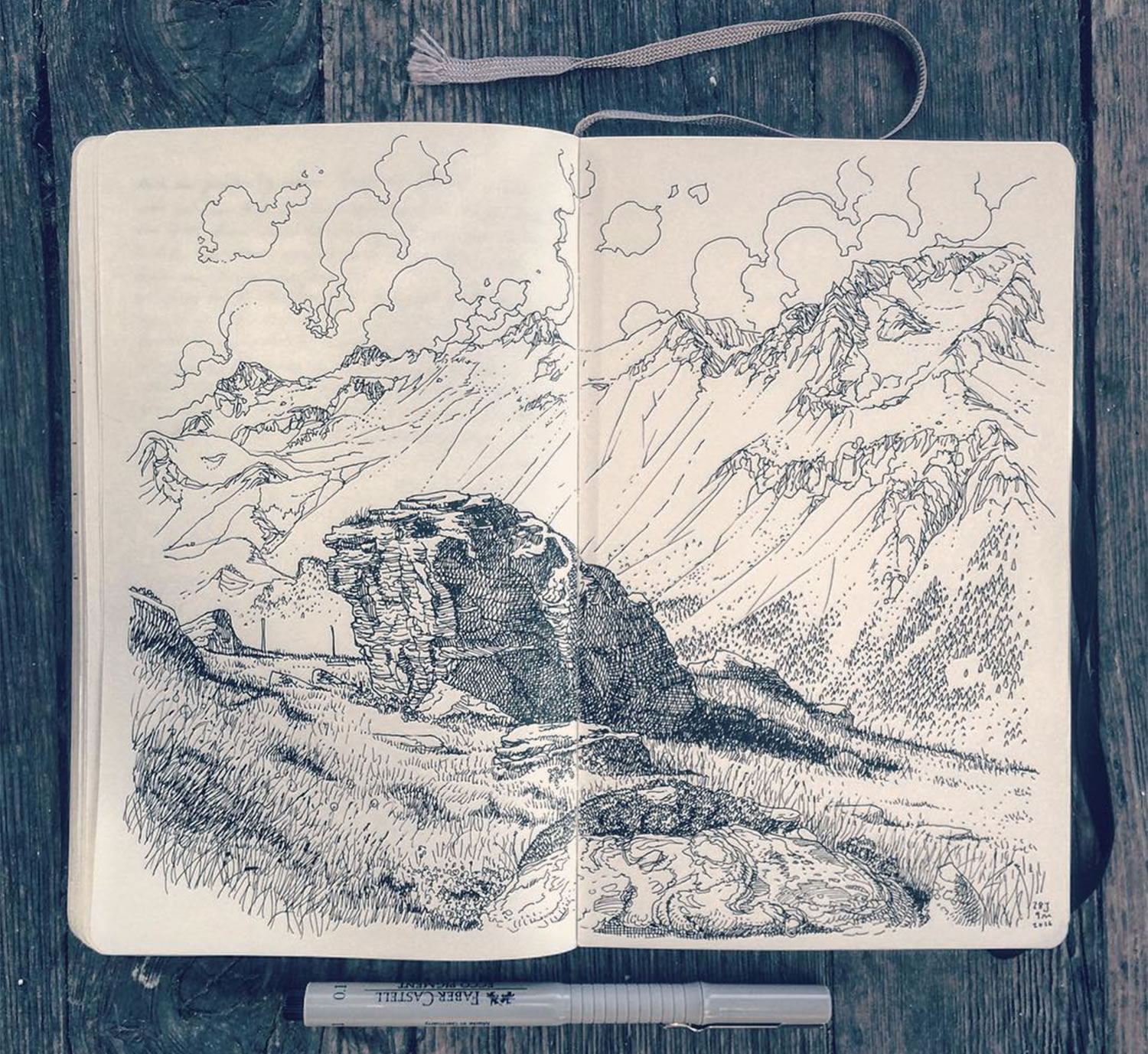 landscape drawing by Jared Muralt