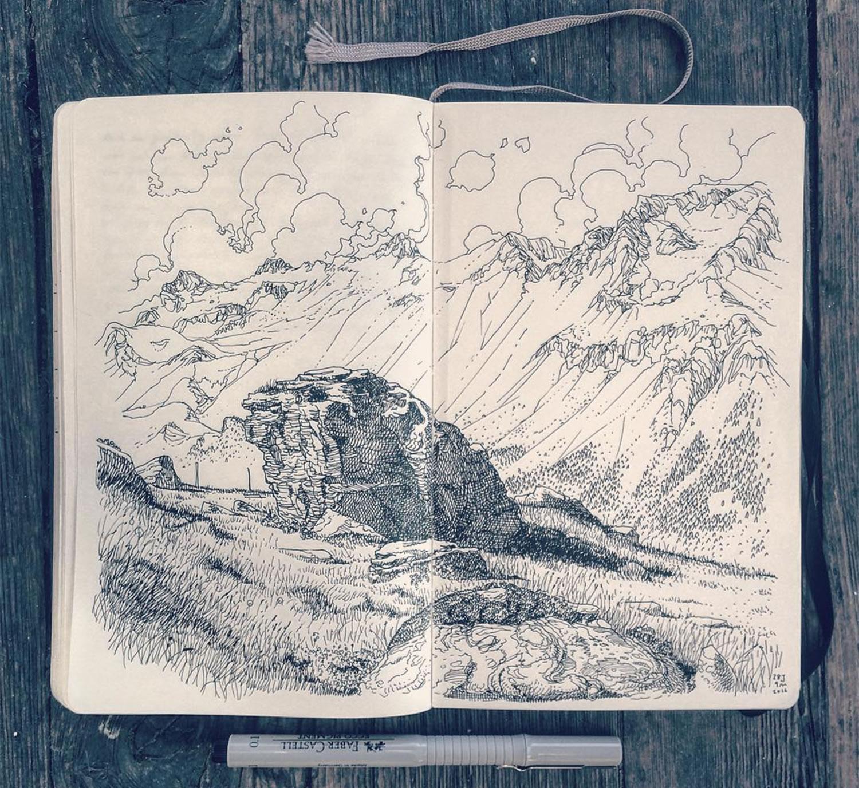 landscape drawing by Jared Muralt