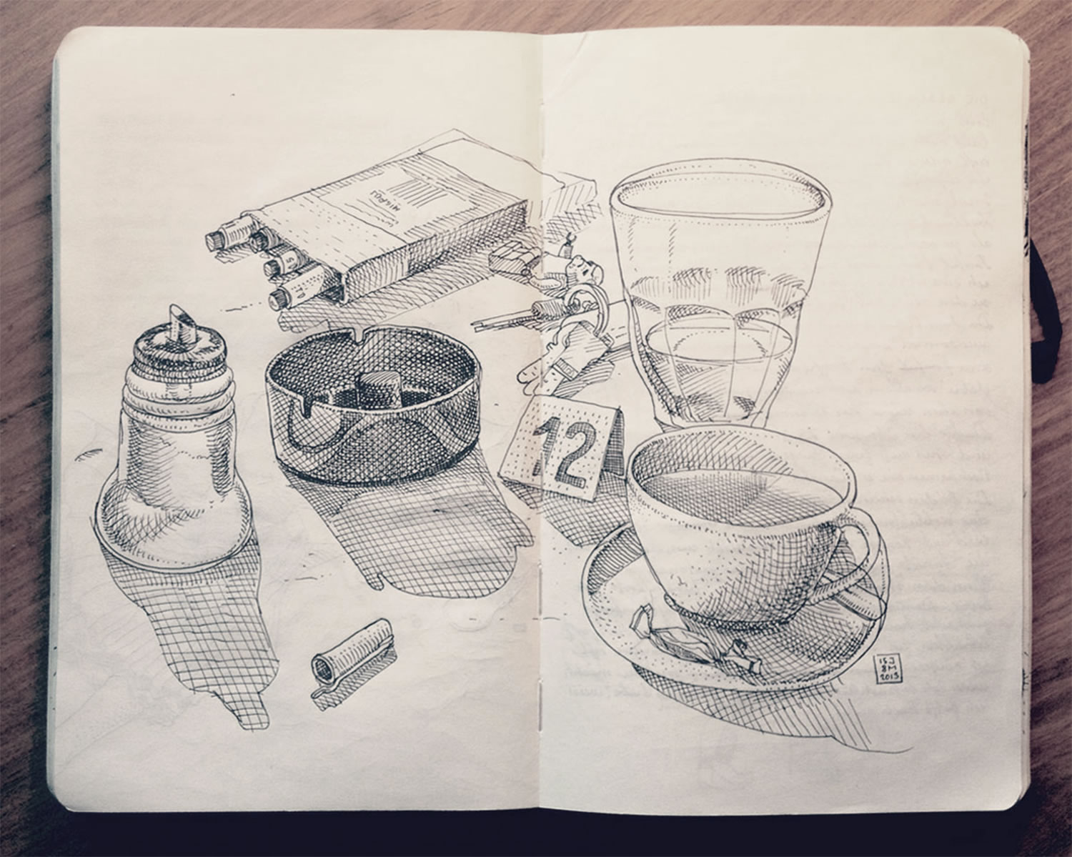 coffee, cigs and more on table, drawing by Jared Muralt