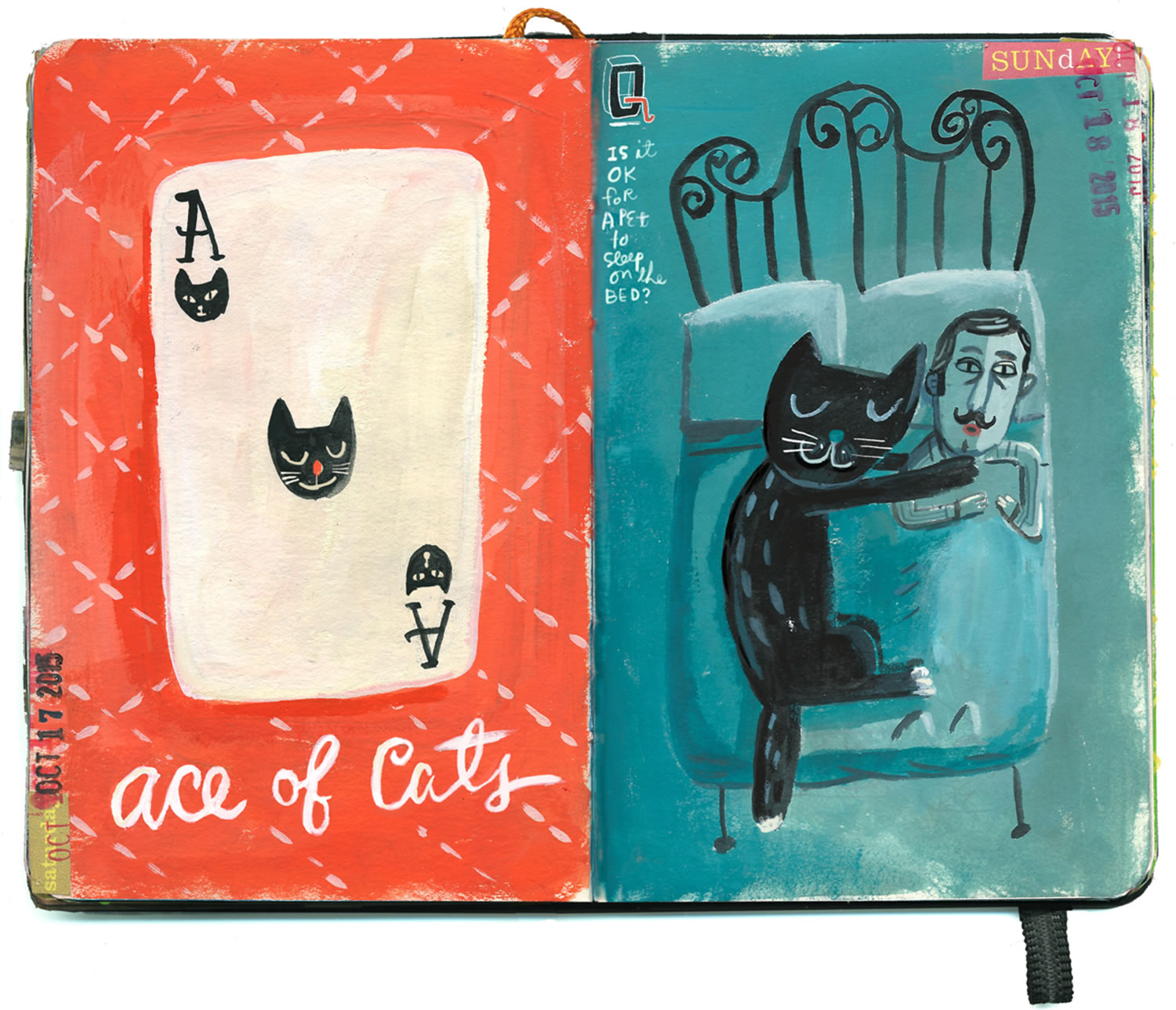 ace (playing card) and cat, sketchbook art by Stephanie Birdsong