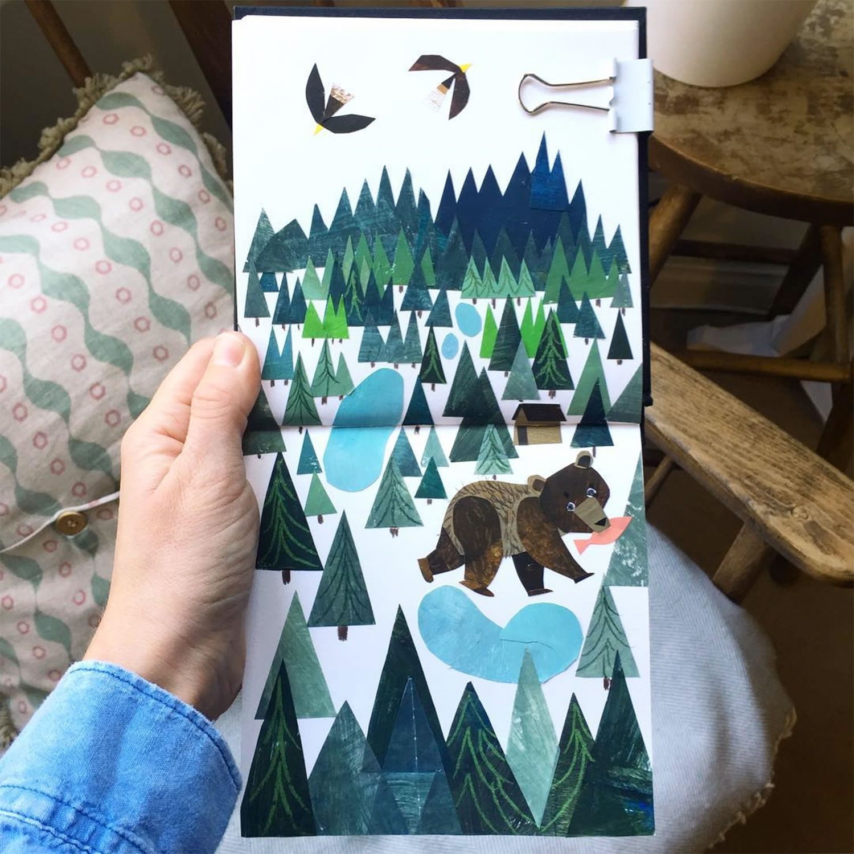 bear and landscape, sketchbook by clover robin