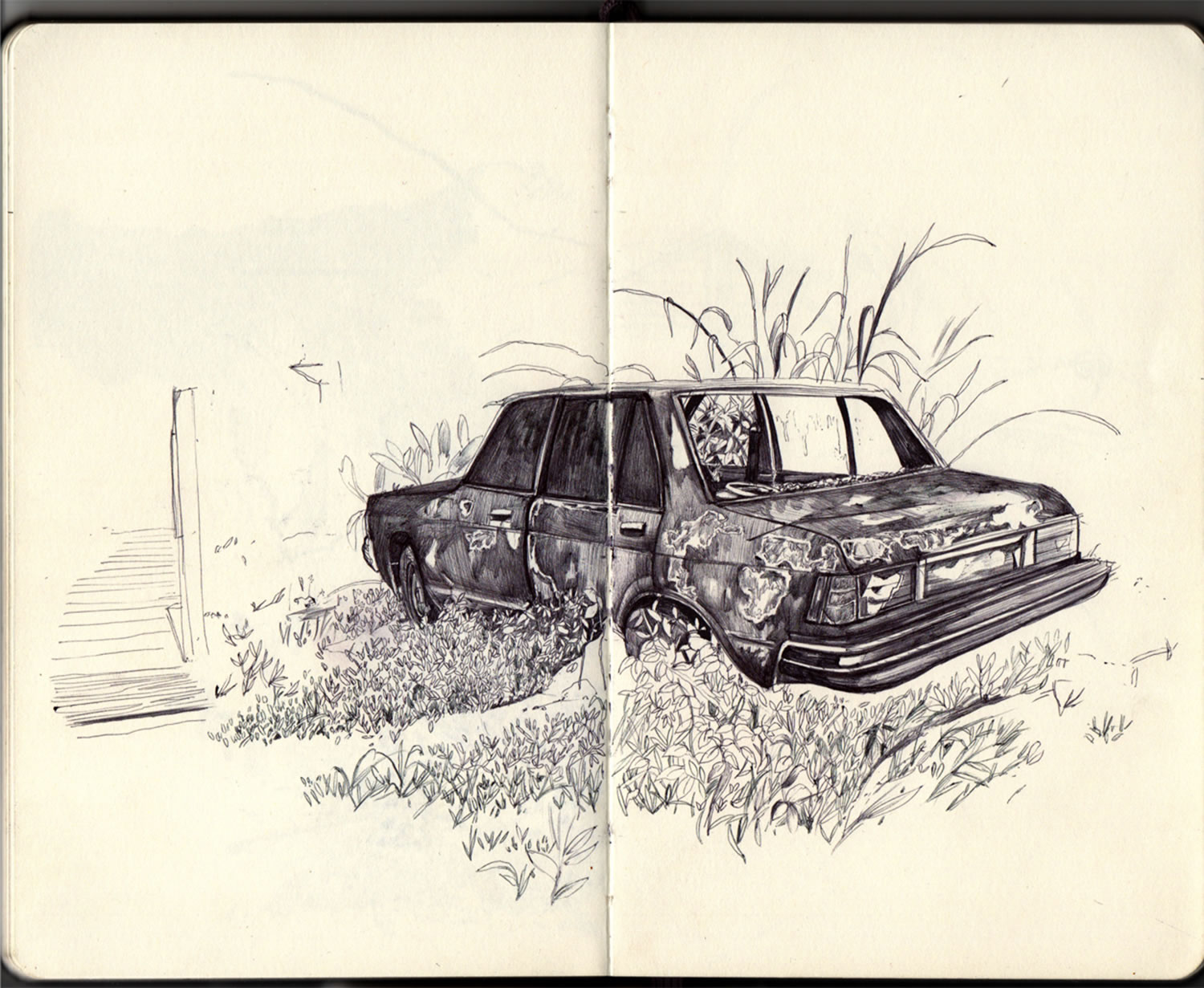 car drawing on sketchbook by thomas cian