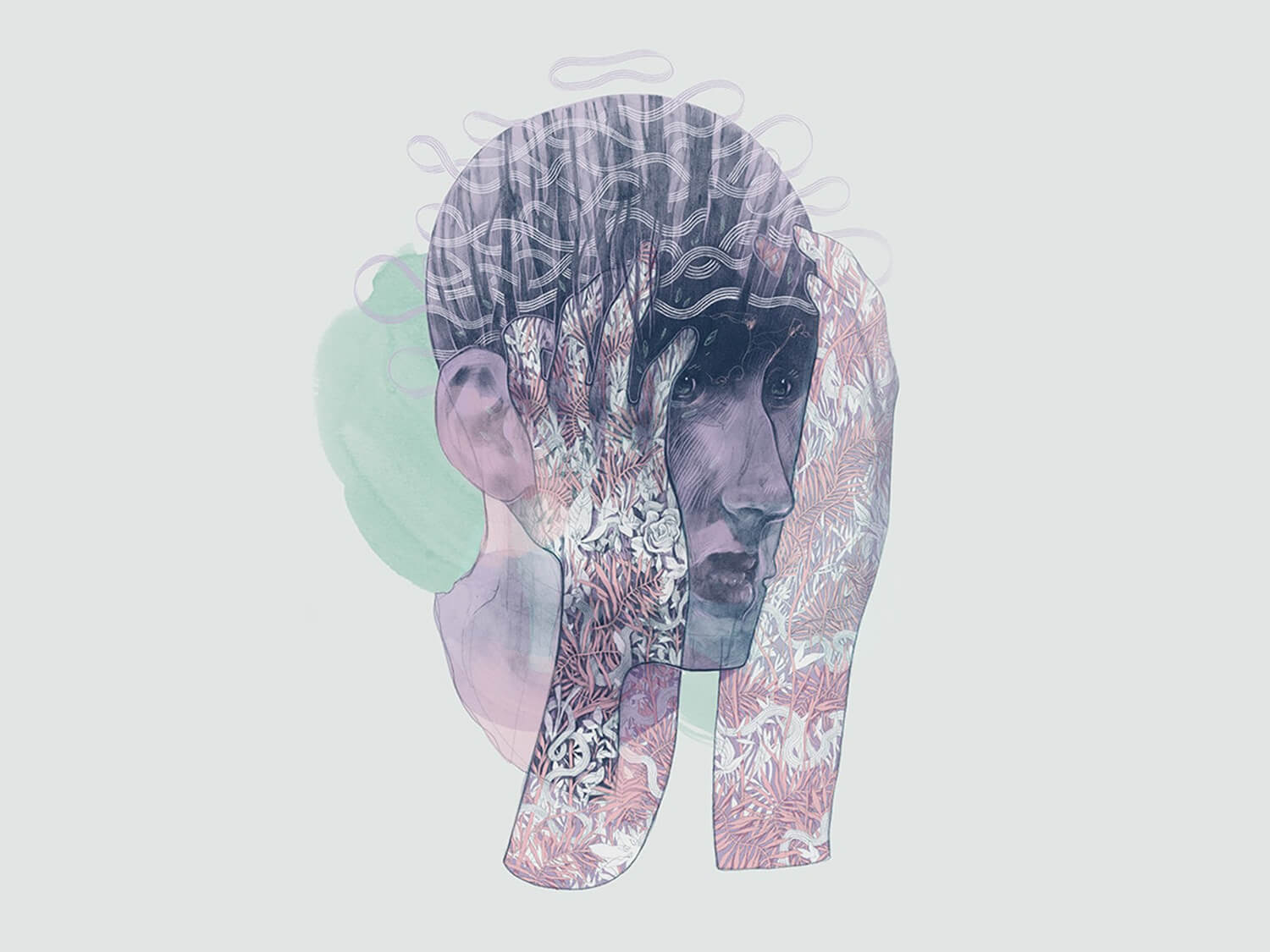 double exposure-style illustration of portrait and landscape