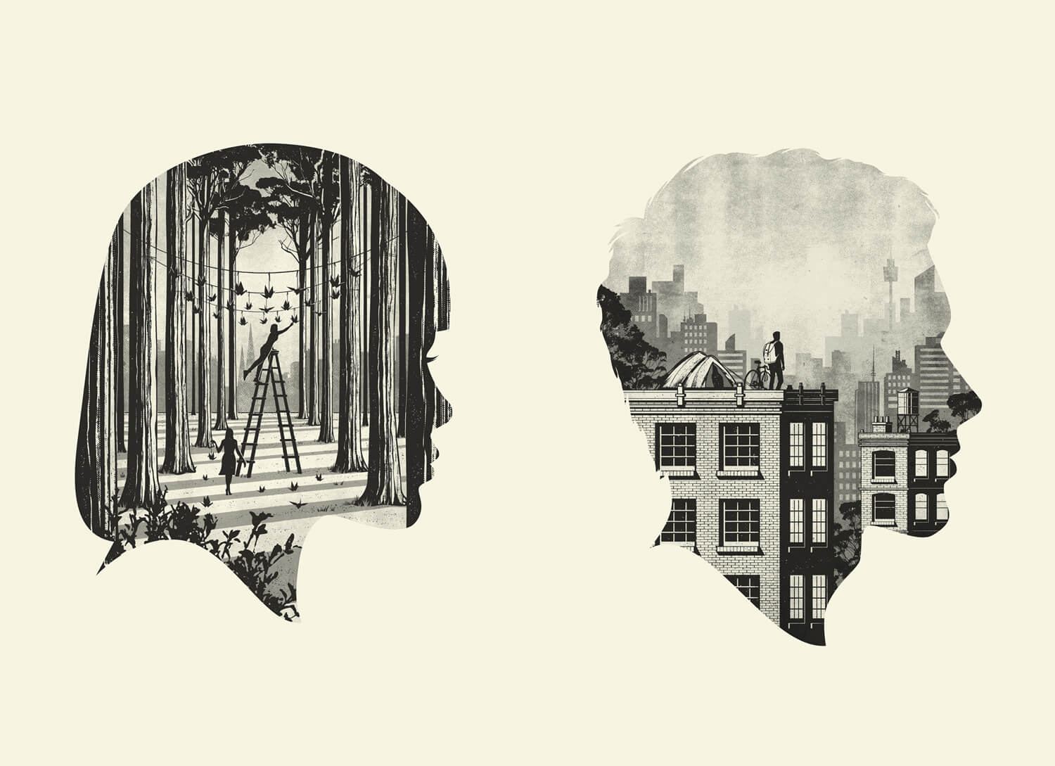 two silhouette portraits with landscapes in negative space
