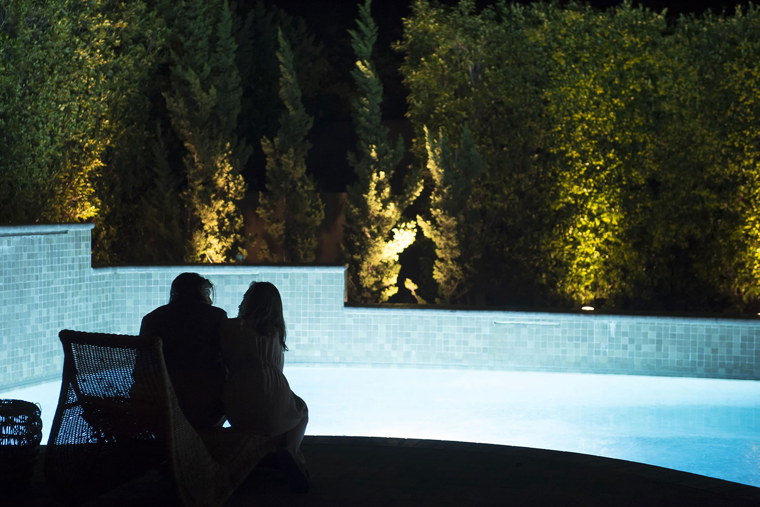 couple at poolside, the invitation