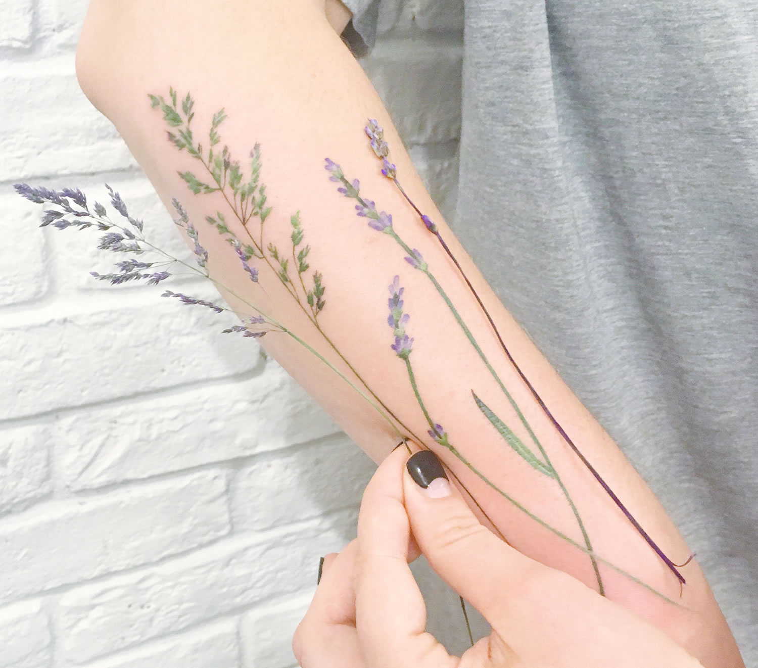 lavender tattoo on arm by rit kit, plant tattoo