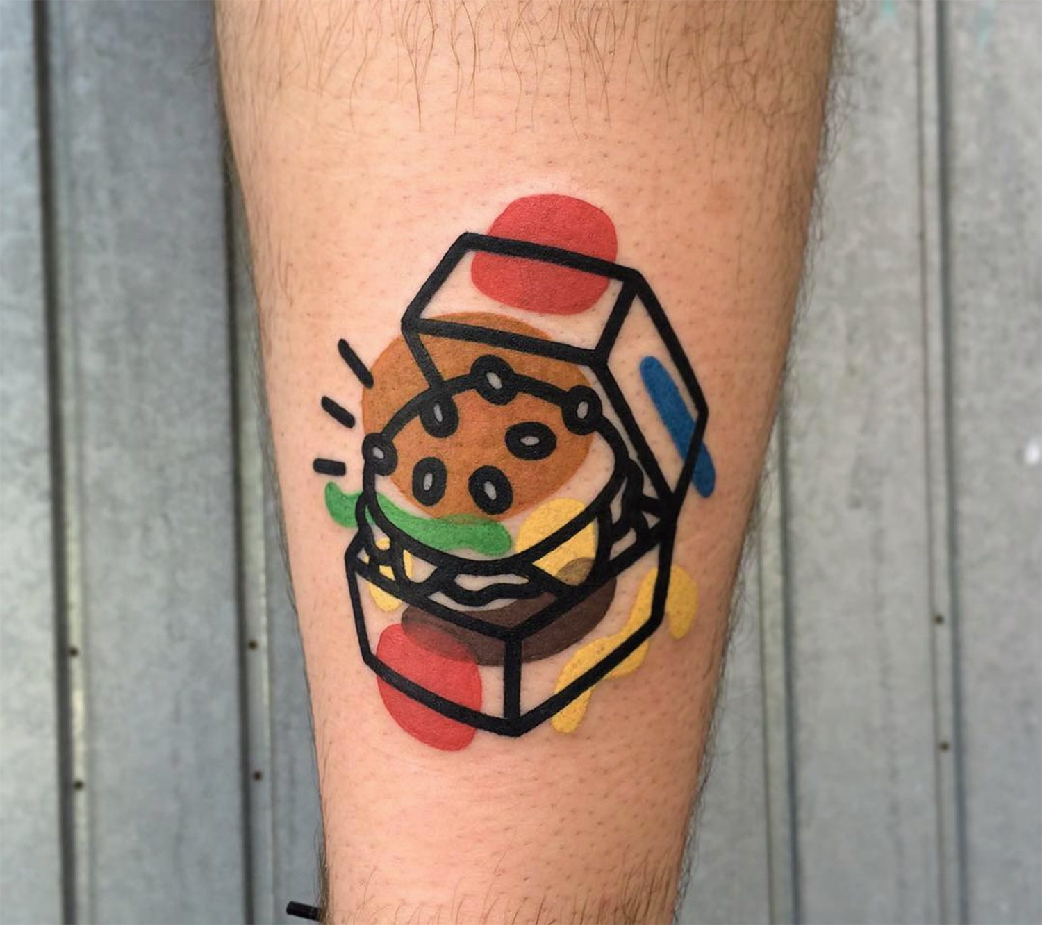 hamburger tattoo, abstract style, DESTRUTTURATA by mattia mambo