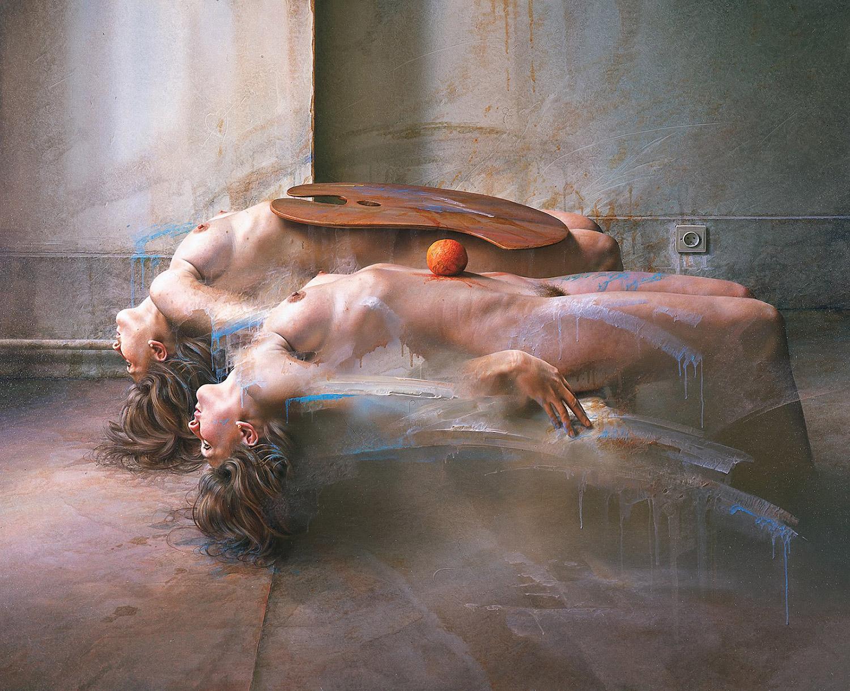Istvan Sandorfi - painting, reclining nude women