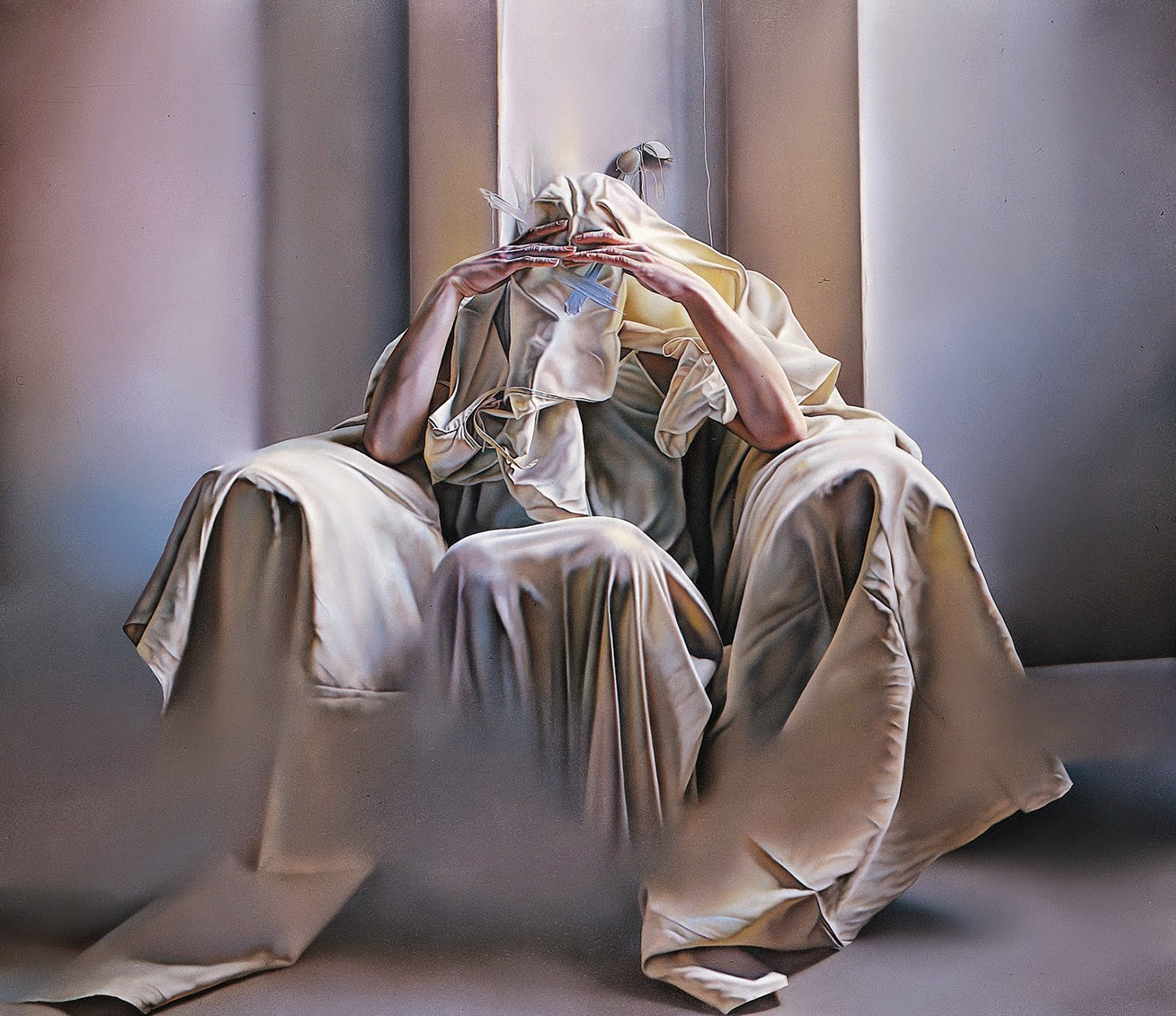 Istvan Sandorfi - painting, figure covered in sheets