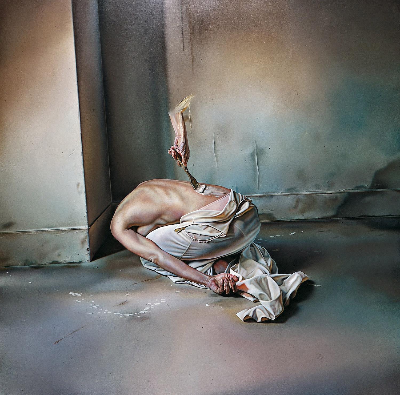 Istvan Sandorfi - painting, disembodied hand painting