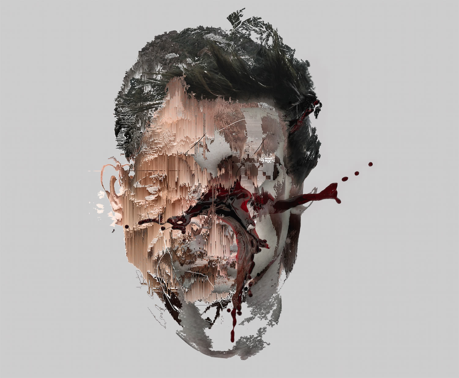 glitchy, exploding face