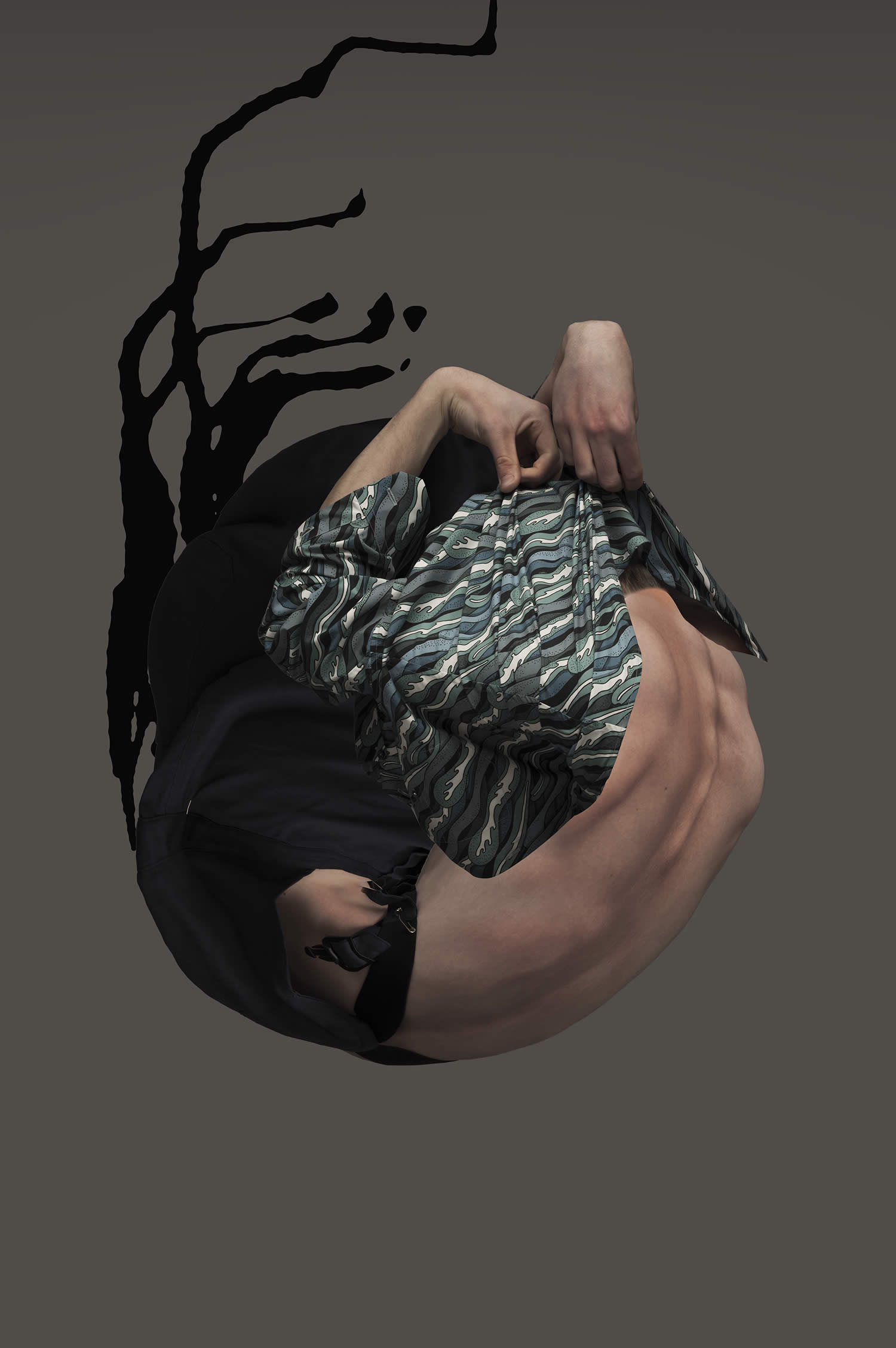 body contorted into a ball, abstract art