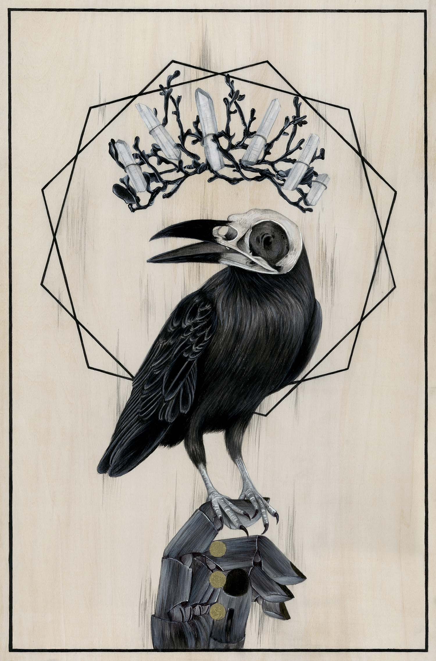 black and white occult painting of a bird