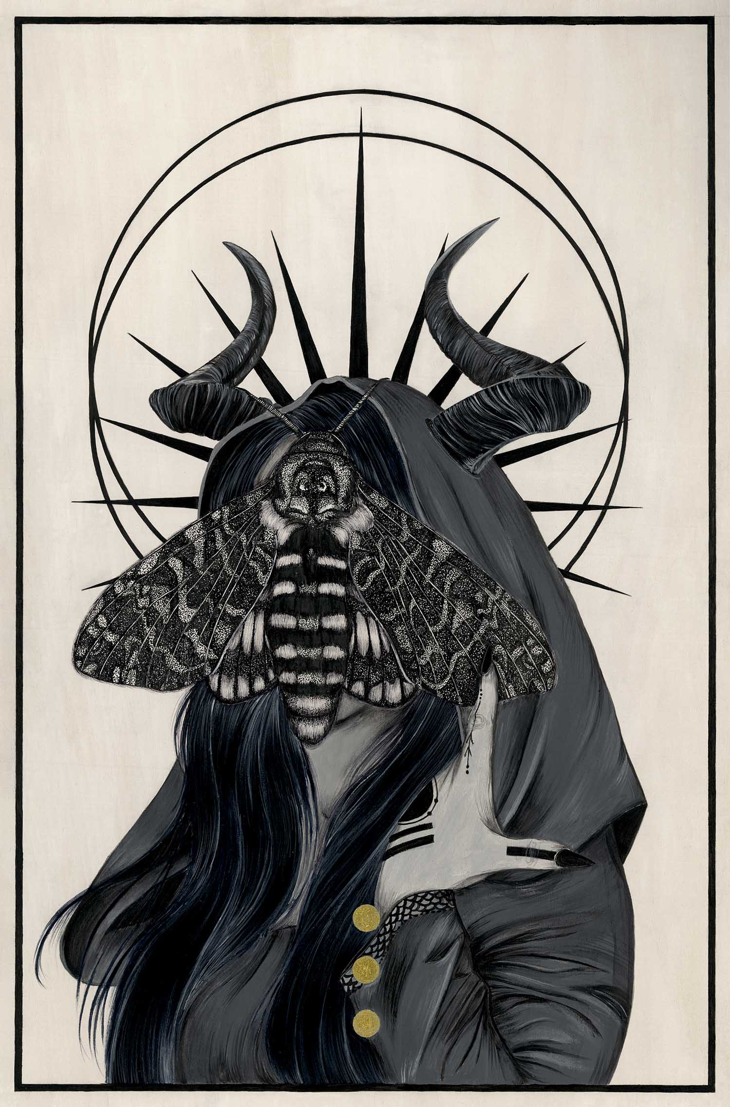 black and white occult painting