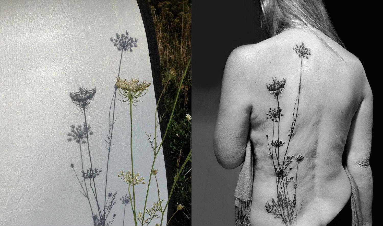Tedd2S botanical silhouette tattoo