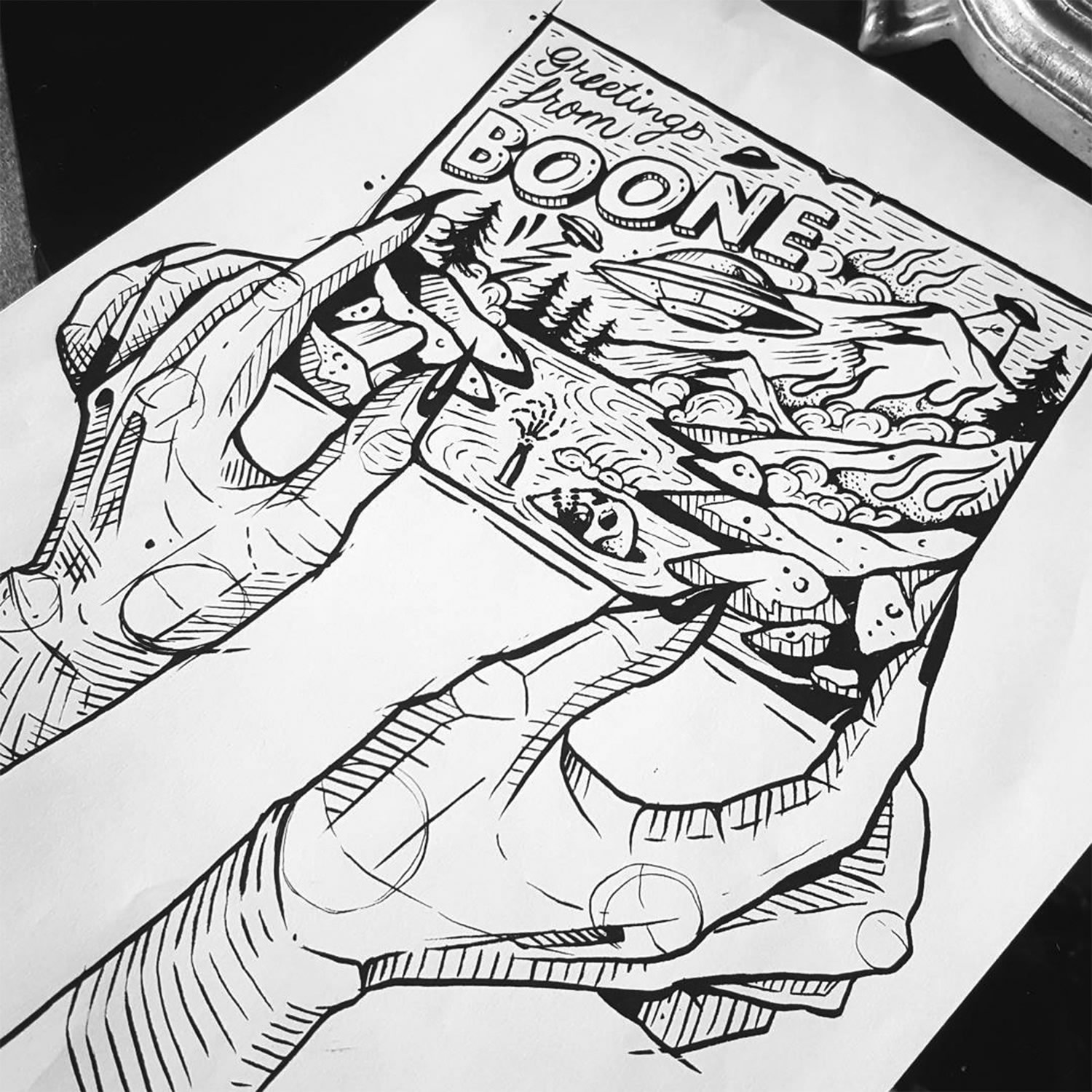 hands, drawing in black and white, comic style