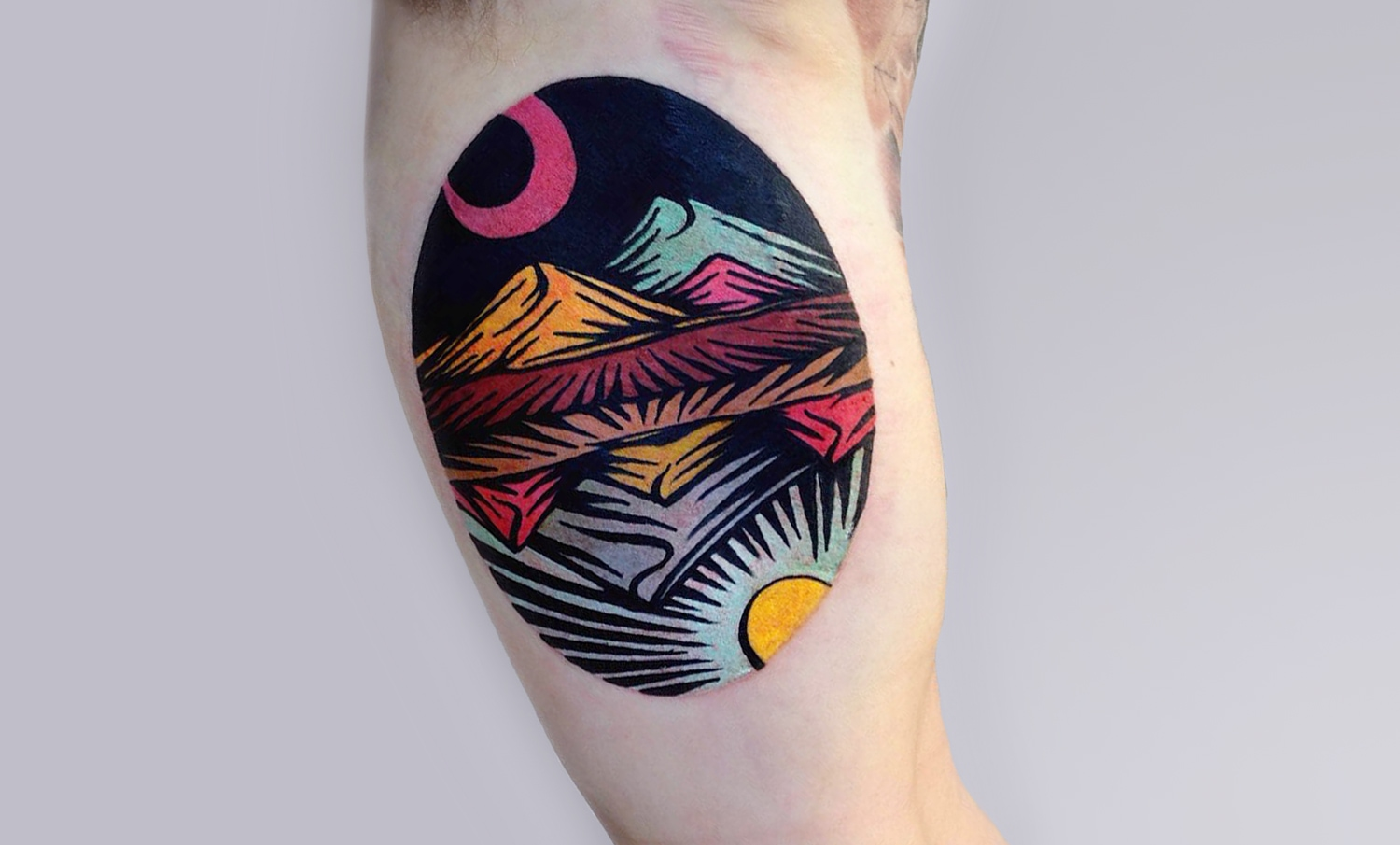 Trippy Linocut Tattoos by Dusty Past