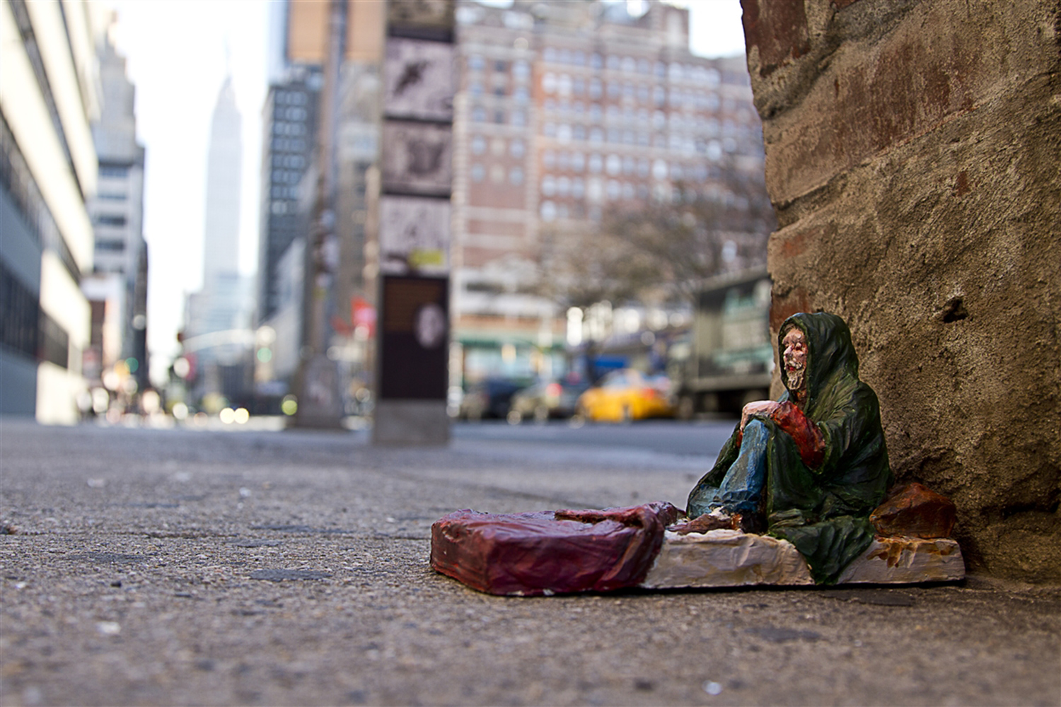 Isaac Cordal - Cement Eclipses, NYC - Homeless