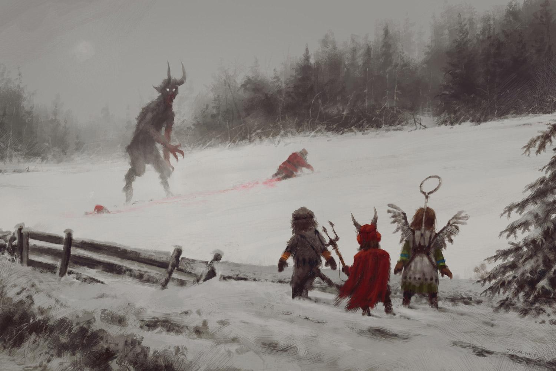 Jakub Rozalski - Santa vs. Krampus