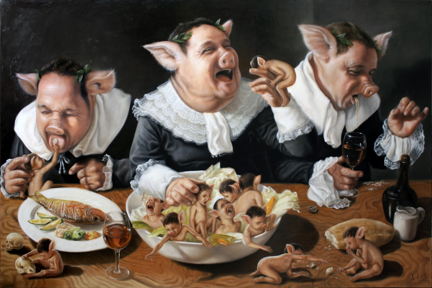 Jose Luis Lopez Galvan - pigs feasting on young