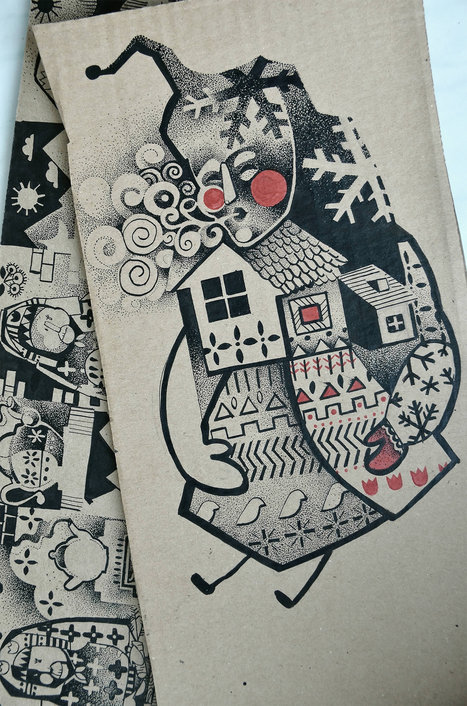 abstract folk art drawing