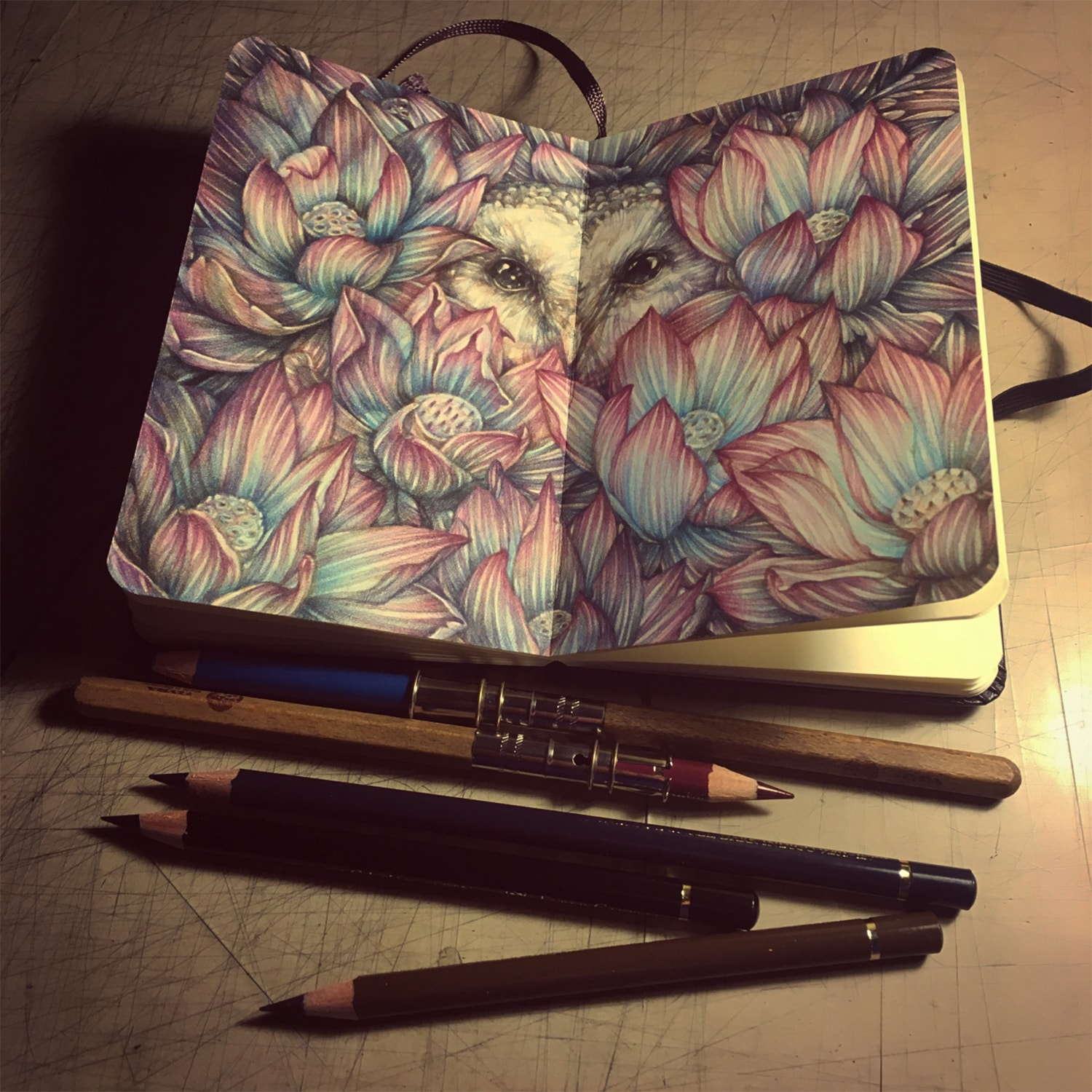 flowers and an owl drawing on moleskine