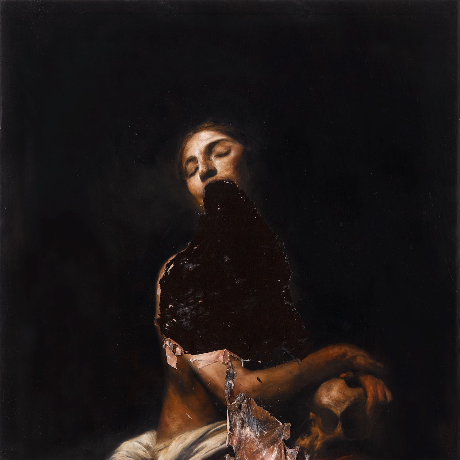 Nicola Samori - painting, woman missing lower face