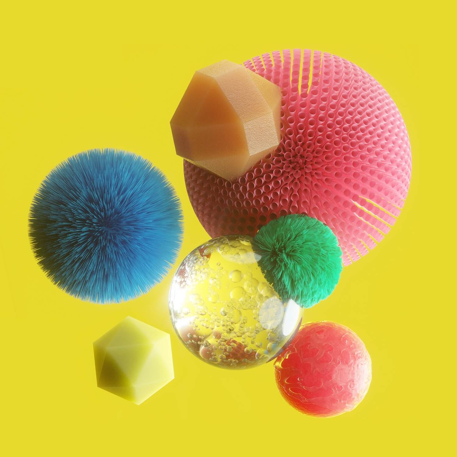 different textured balls floating on a yellow background