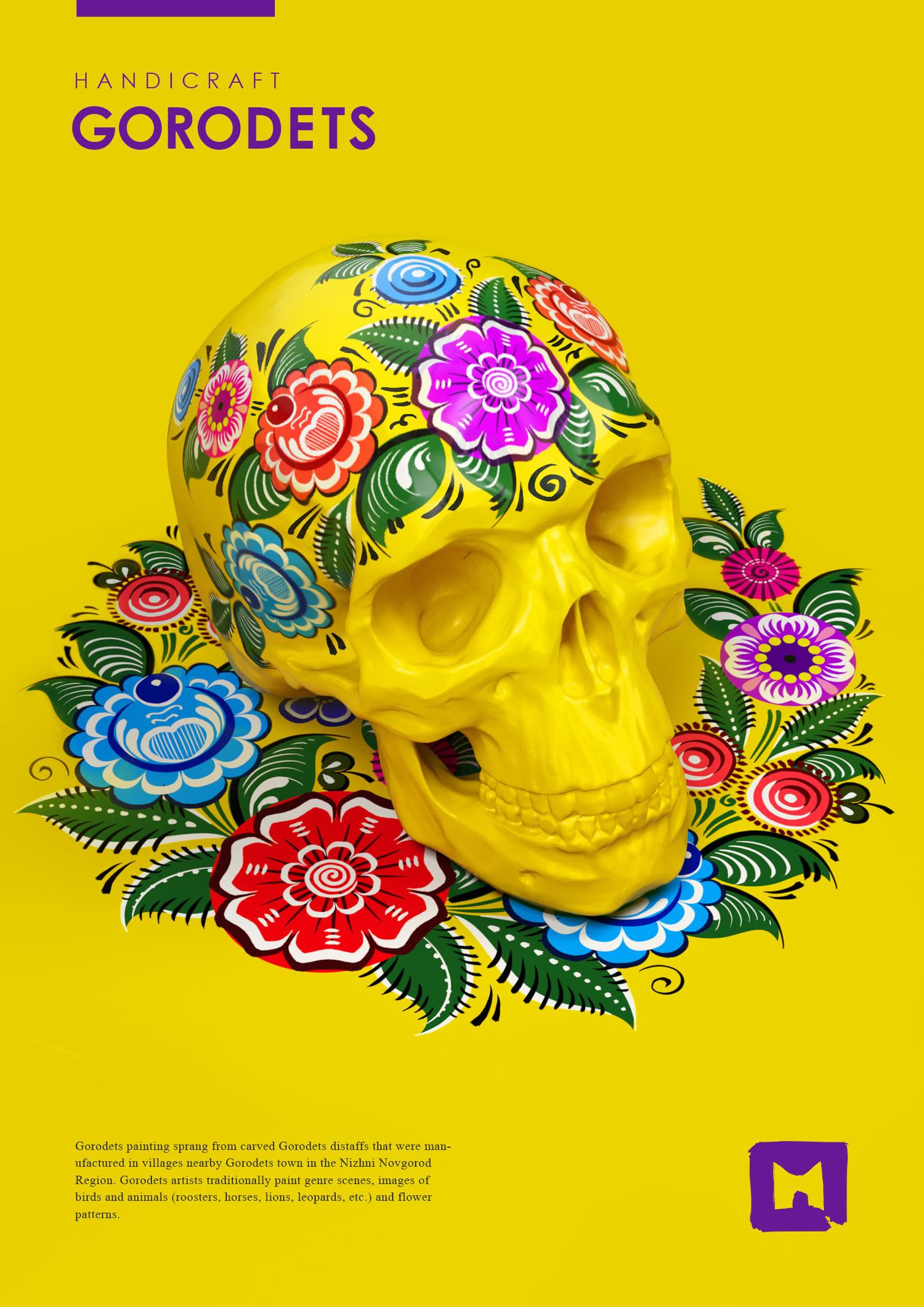 skull, yellow background, folk fusion by Aleksandra Vinogradova