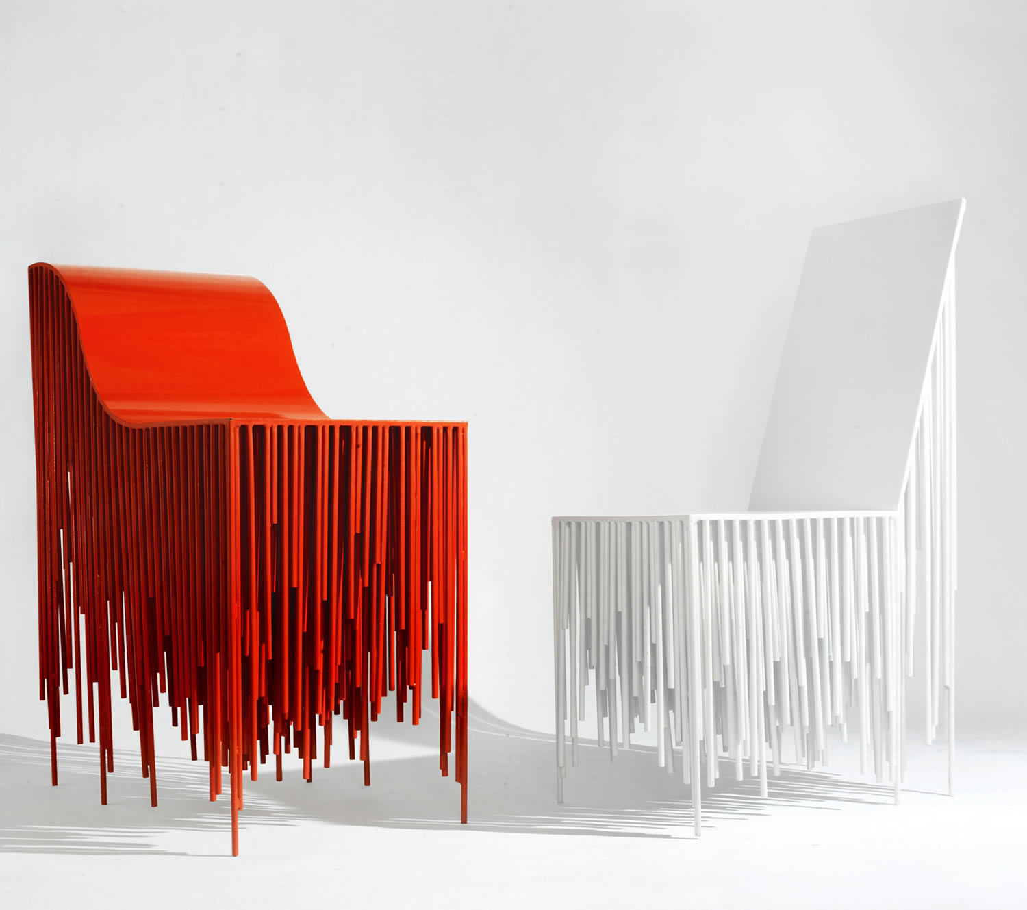 the holy ghost chairs, dripping style, red and white