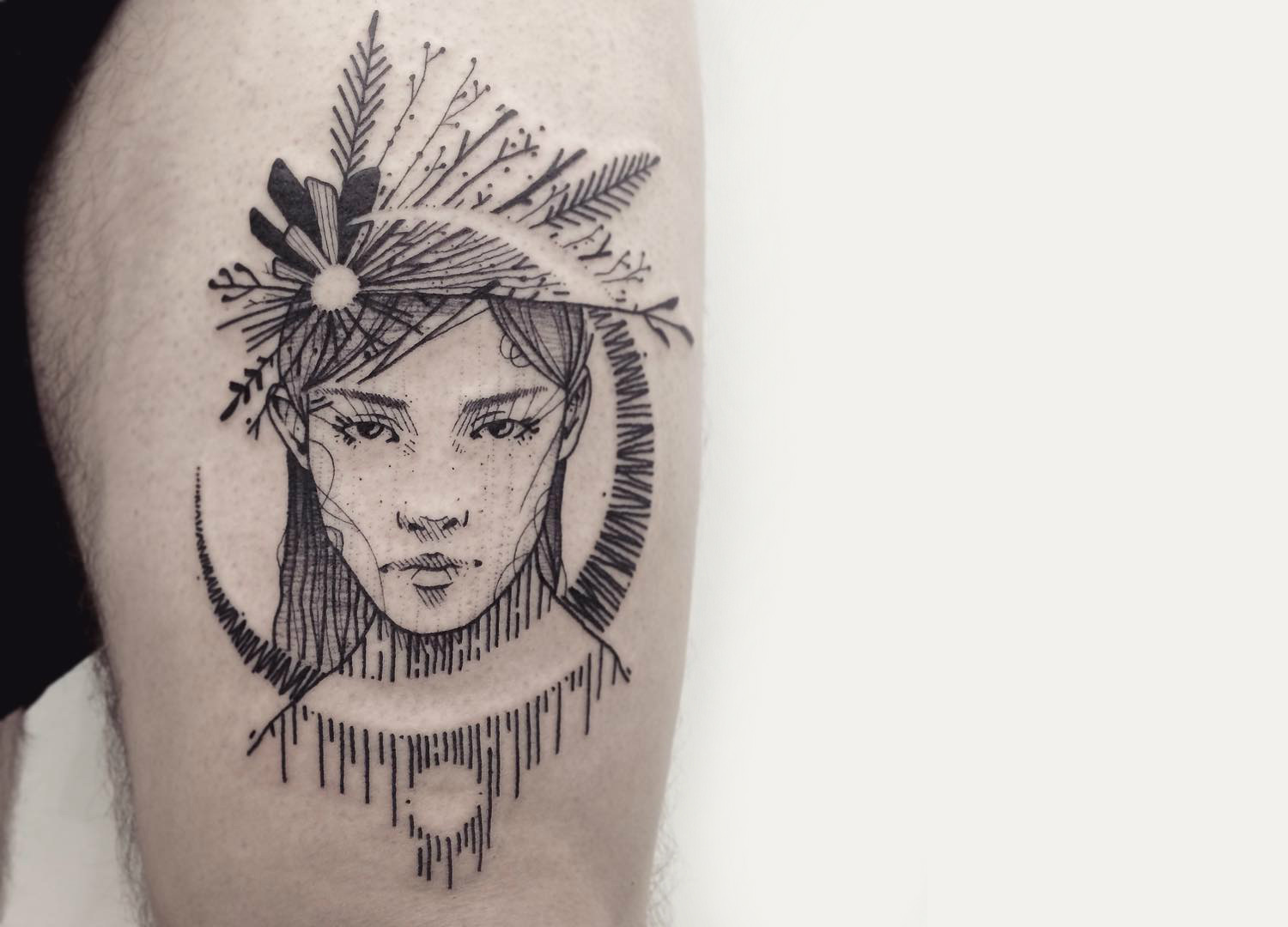 Sketch portrait tattoo by Guga Scharf