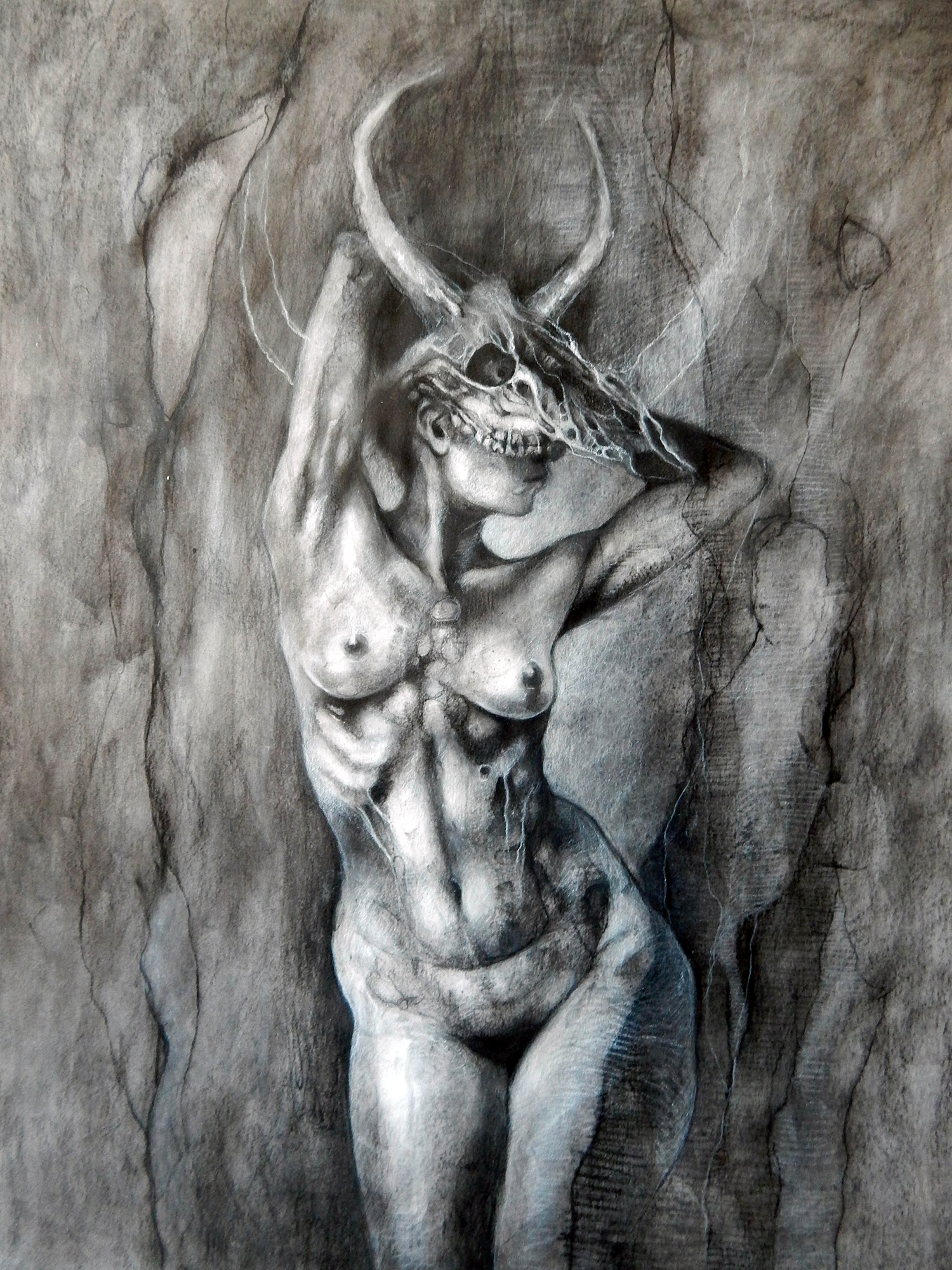 Aurore Lephilipponnat - woman wearing horned skull