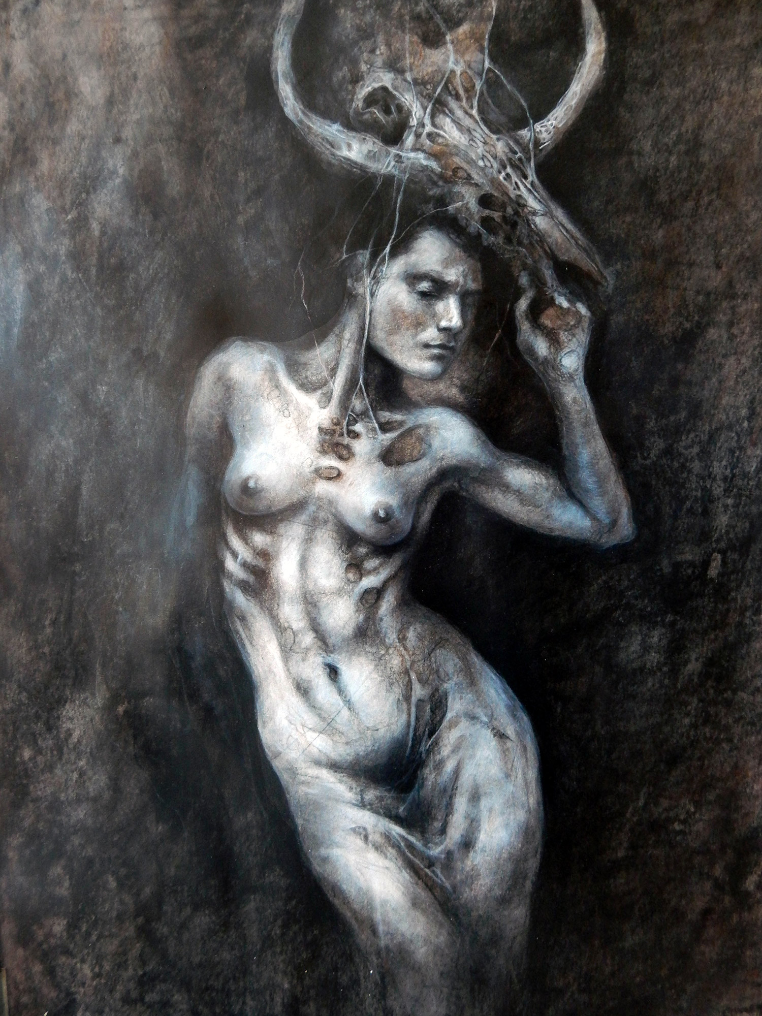 Aurore Lephilipponnat - woman dancing with skull on head