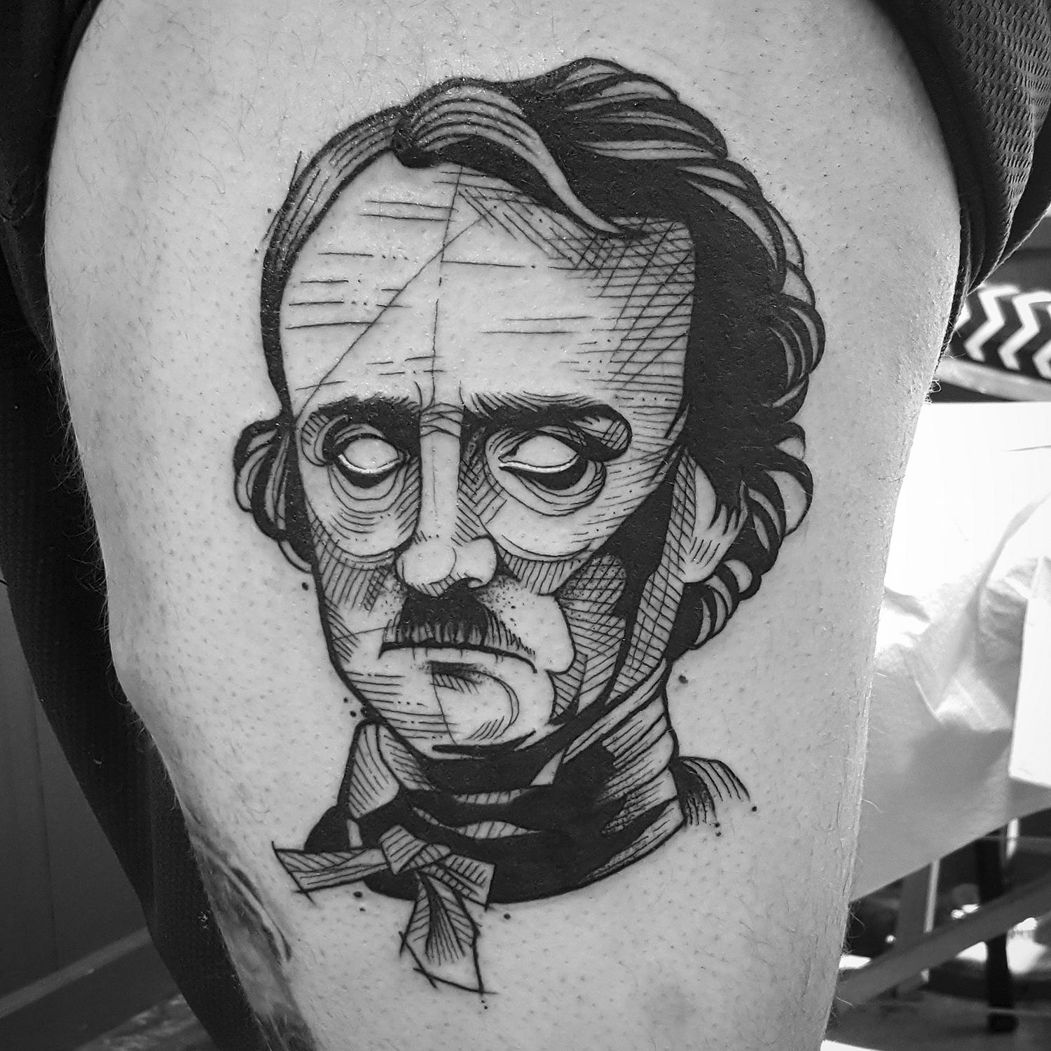 edgar allan poe portrait tattoo