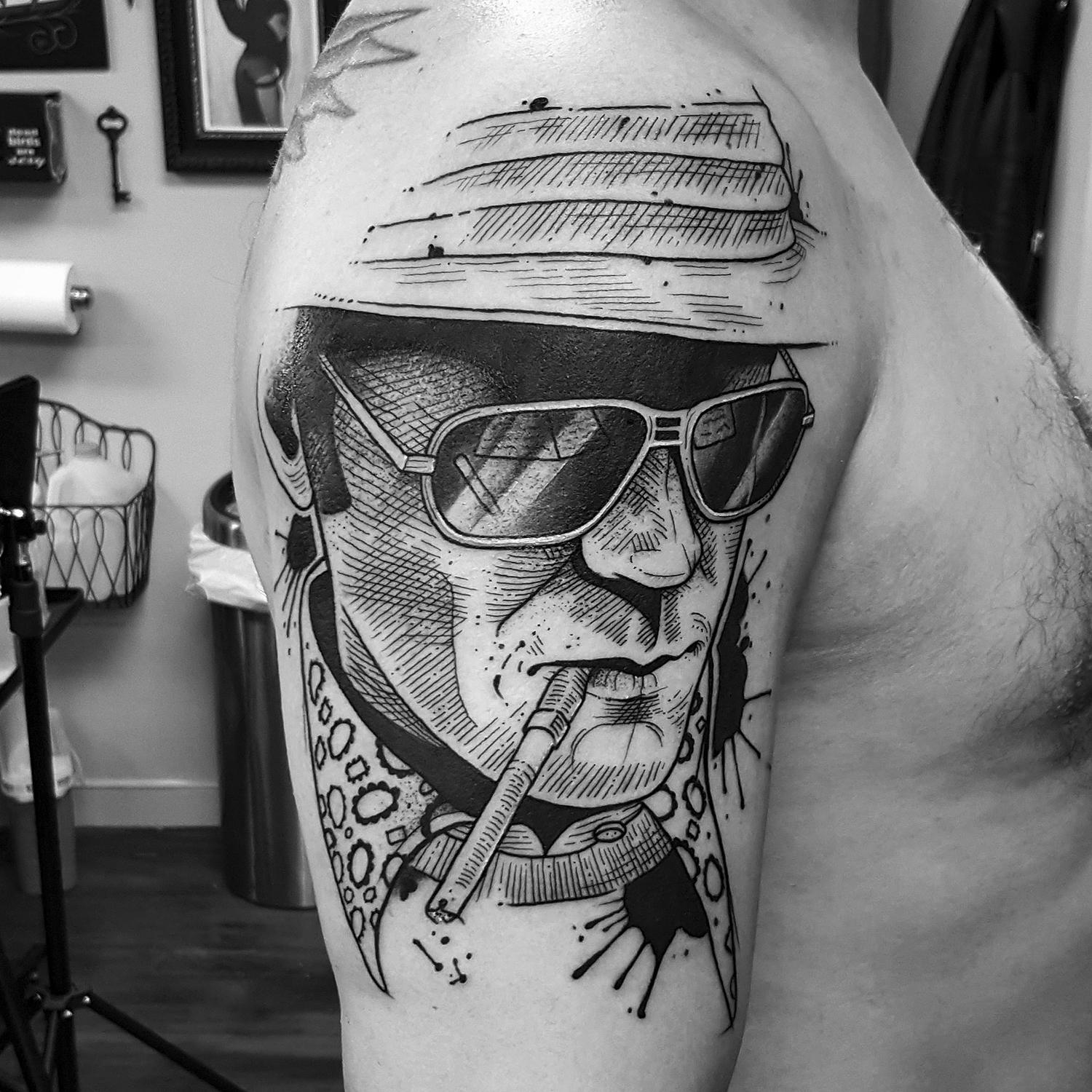 movie character portrait, tattoo