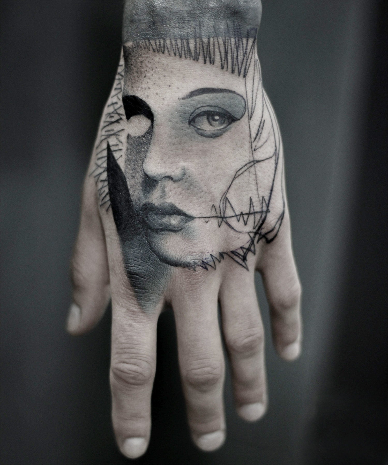 hand tattoo, blackwork, by Ian Shakhmatov