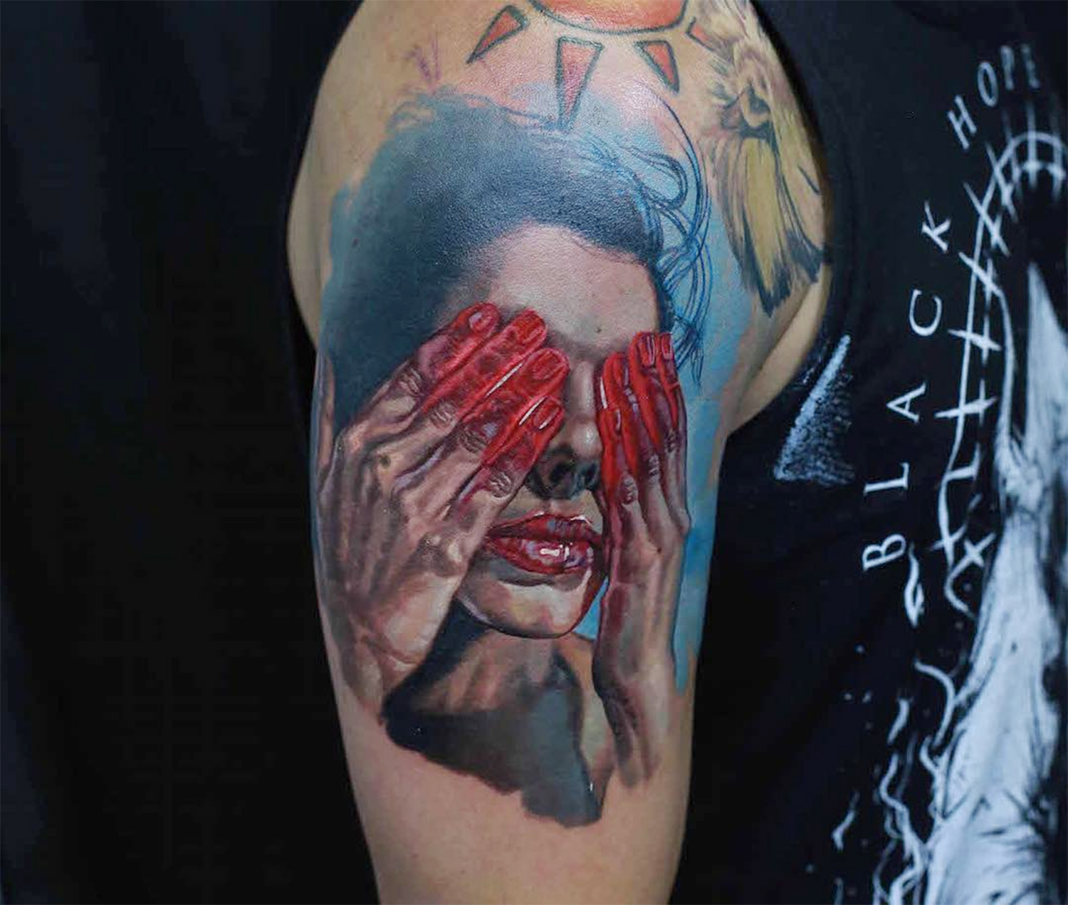 woman with red hands, portrait tattoo by denis sivak