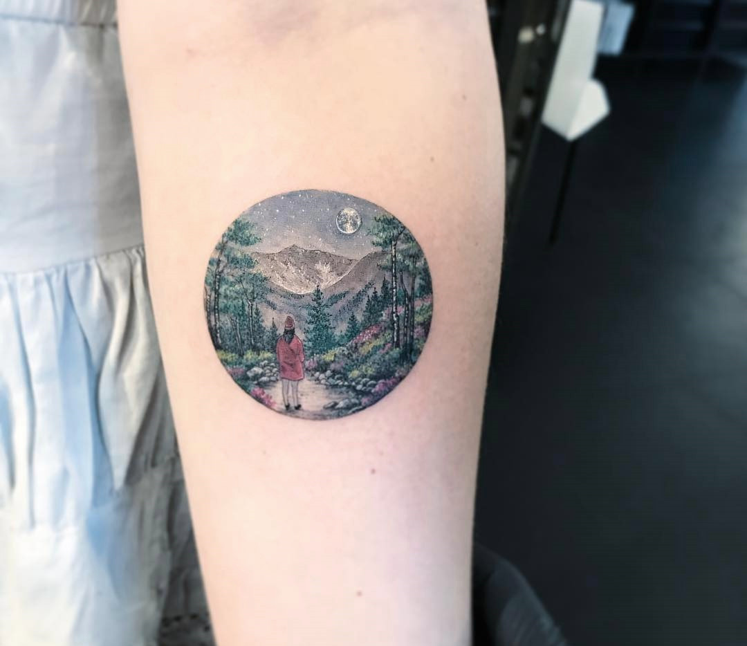 landscape scene, circle tattoo by eva krbdk