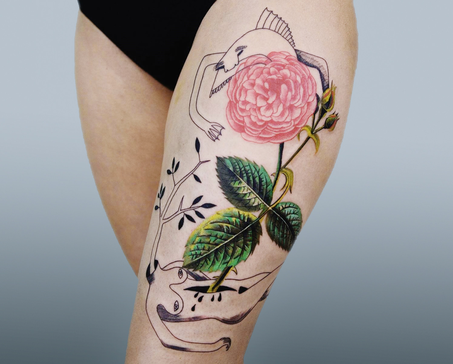 realistic rose tattoo fused with line drawings