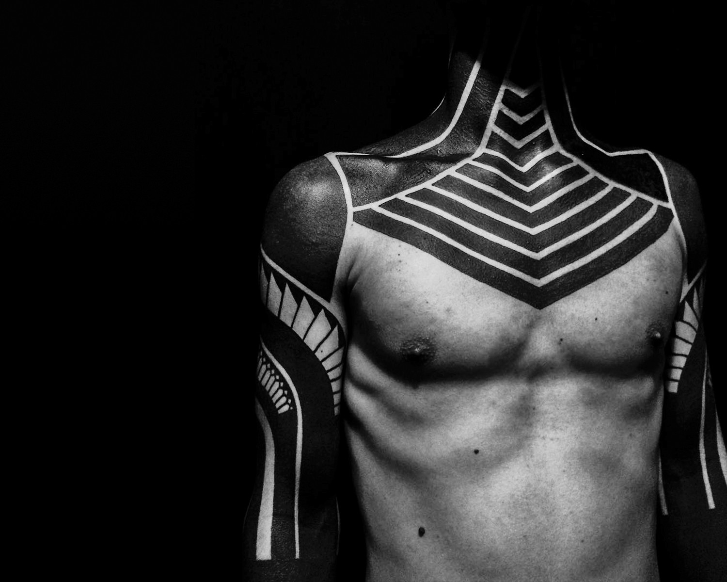 blackwork, geometric neotribal tattoo by Alex Arnautov