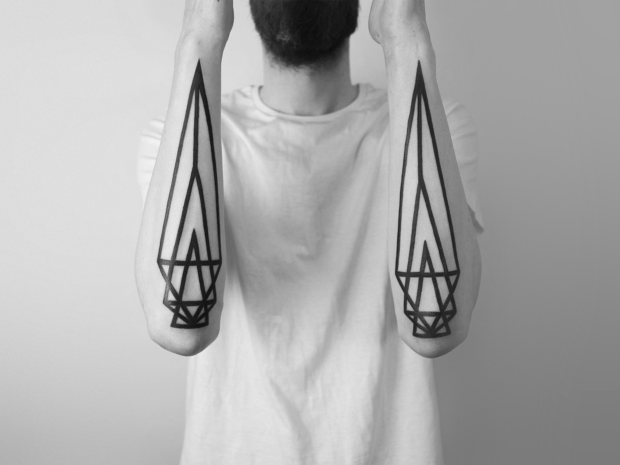 geometric black ink half sleeve