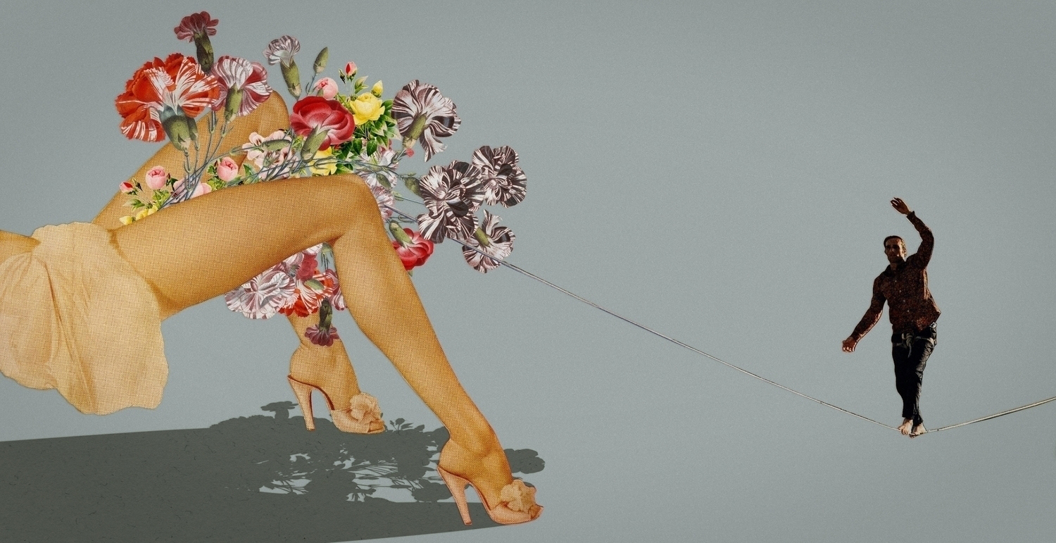 Sombra, Victor Ruano - paper collage 8, flower legs