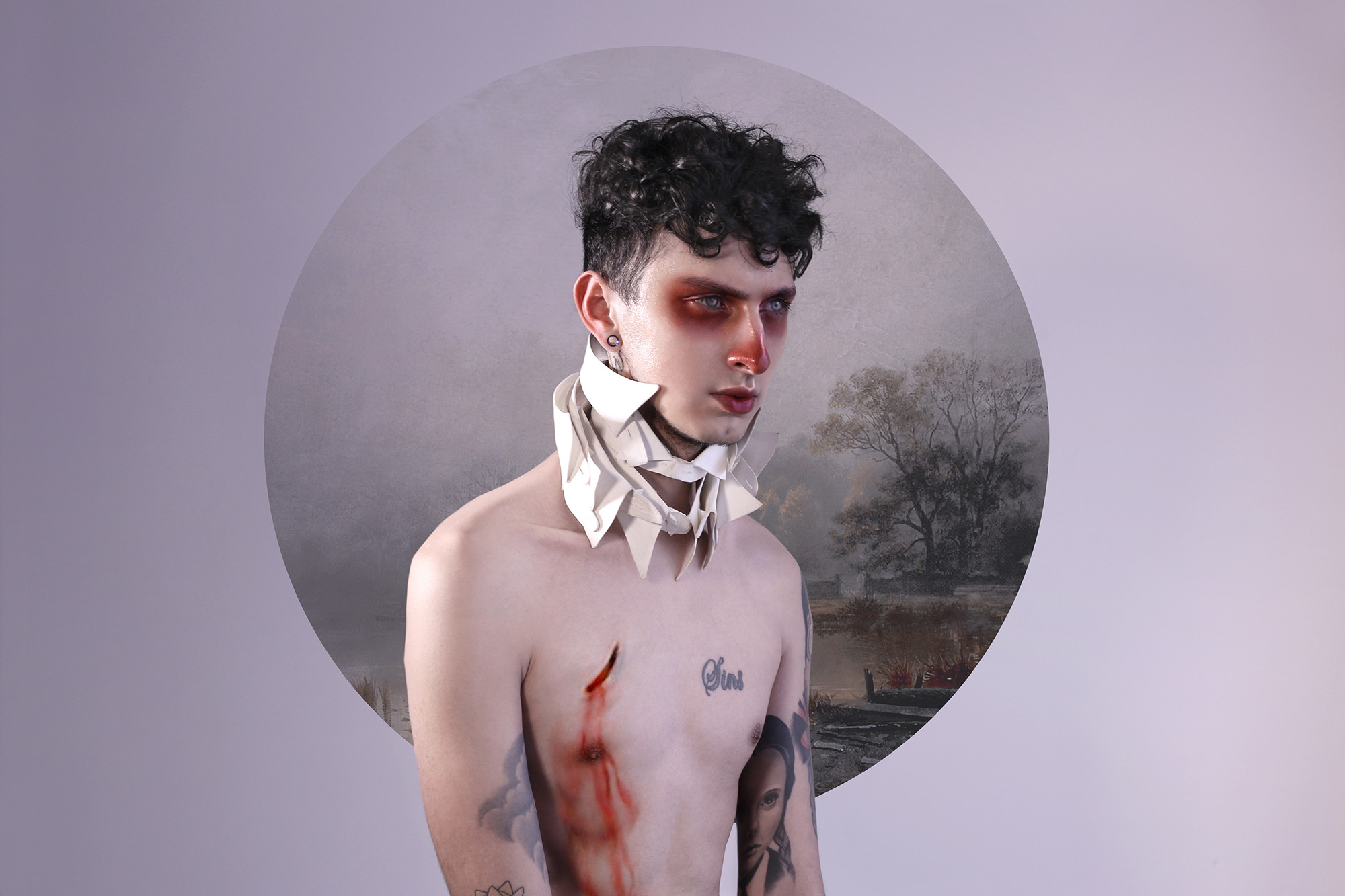 romanticism background, portrait of man, otherness series