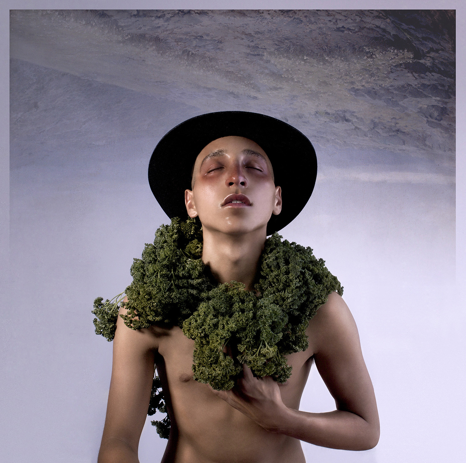 green vegetation wrapped on shoulders, portrait, photography