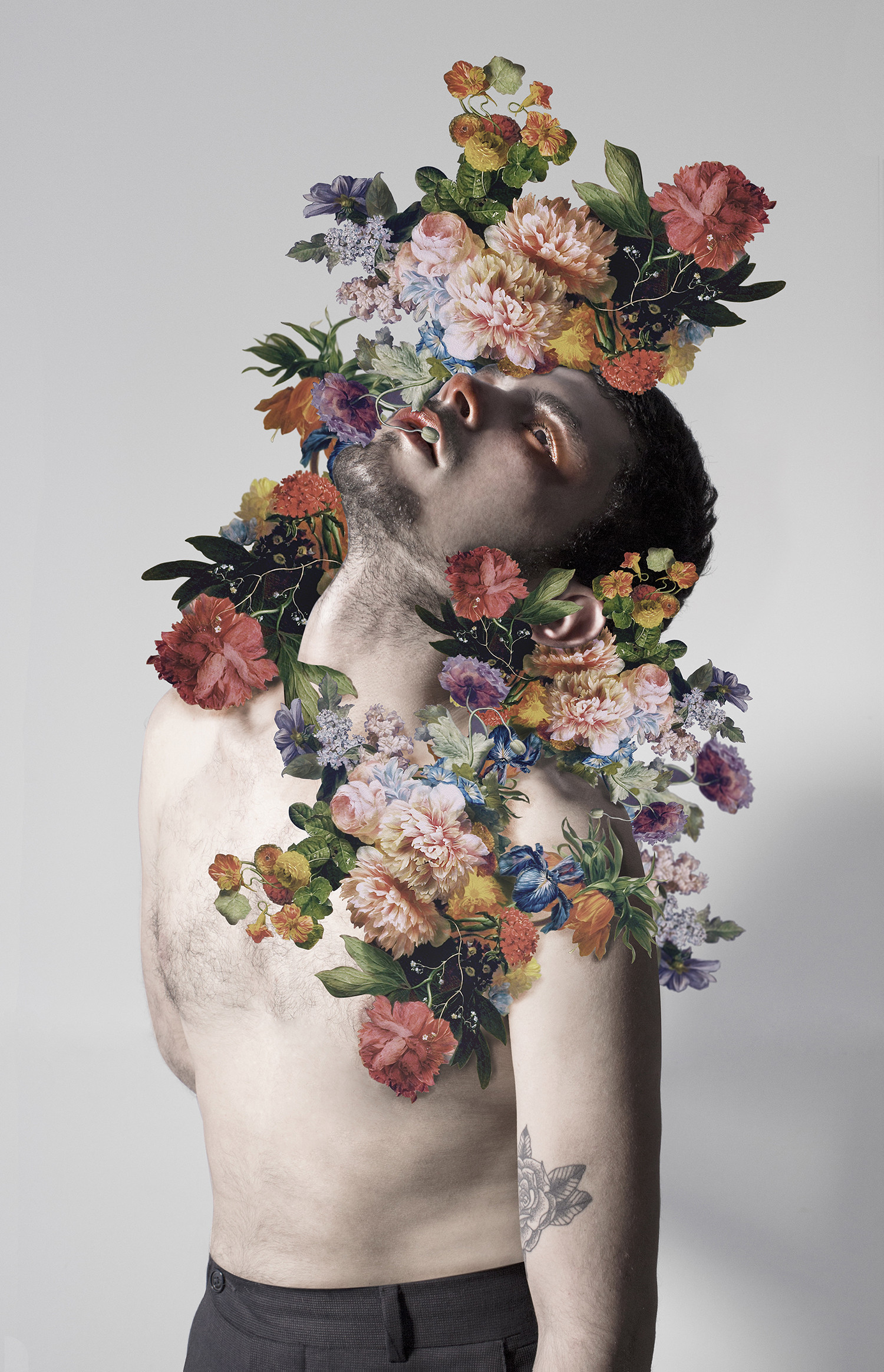 flowers covering man, otherness